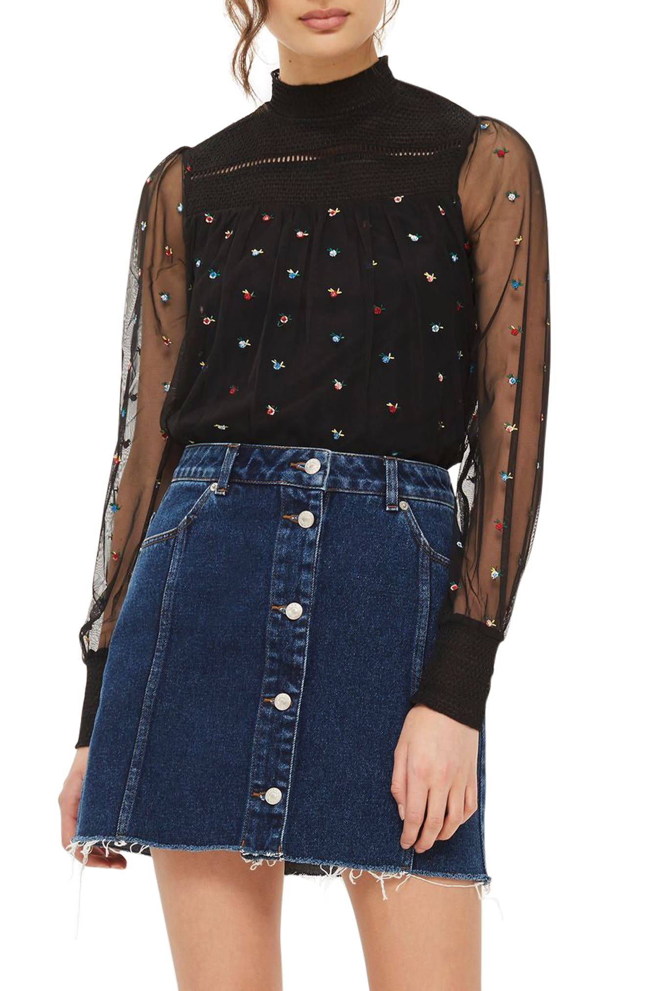 Main Image - Topshop Ditsy Embroidered Smock Top