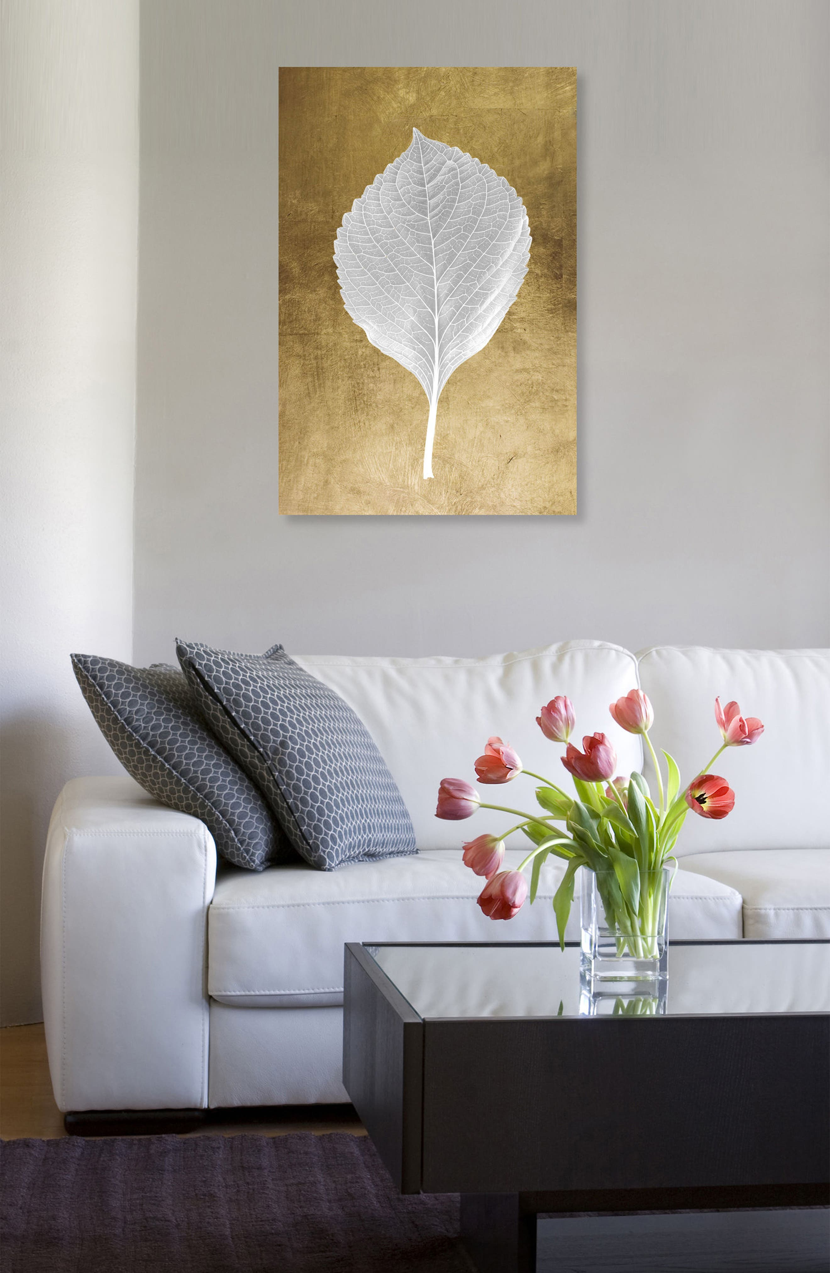 Leaf in Gold I Canvas Wall Art,                             Alternate thumbnail 2, color,                             Metallic Gold