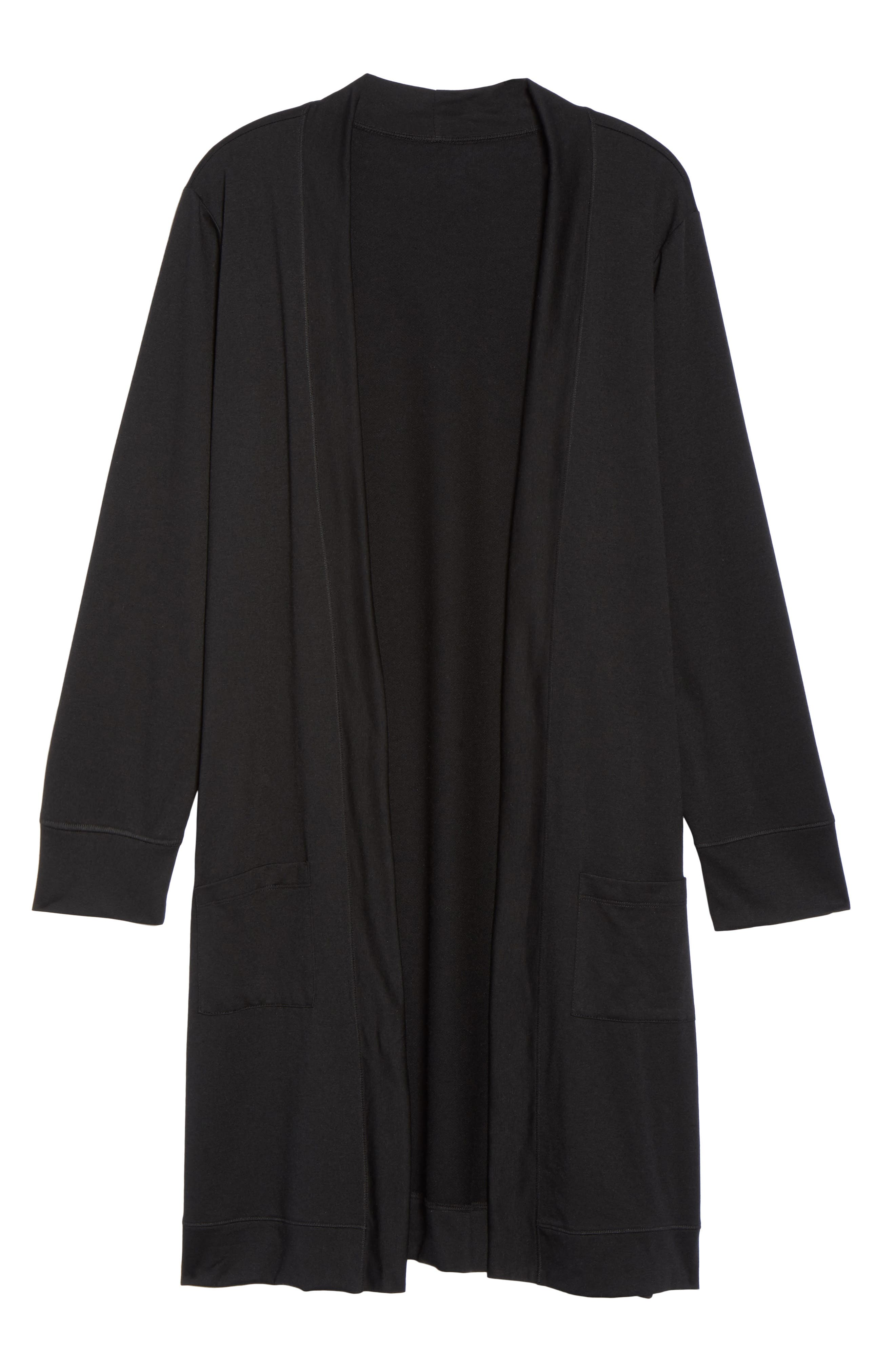 Long French Terry Cardigan,                             Alternate thumbnail 6, color,                             Black
