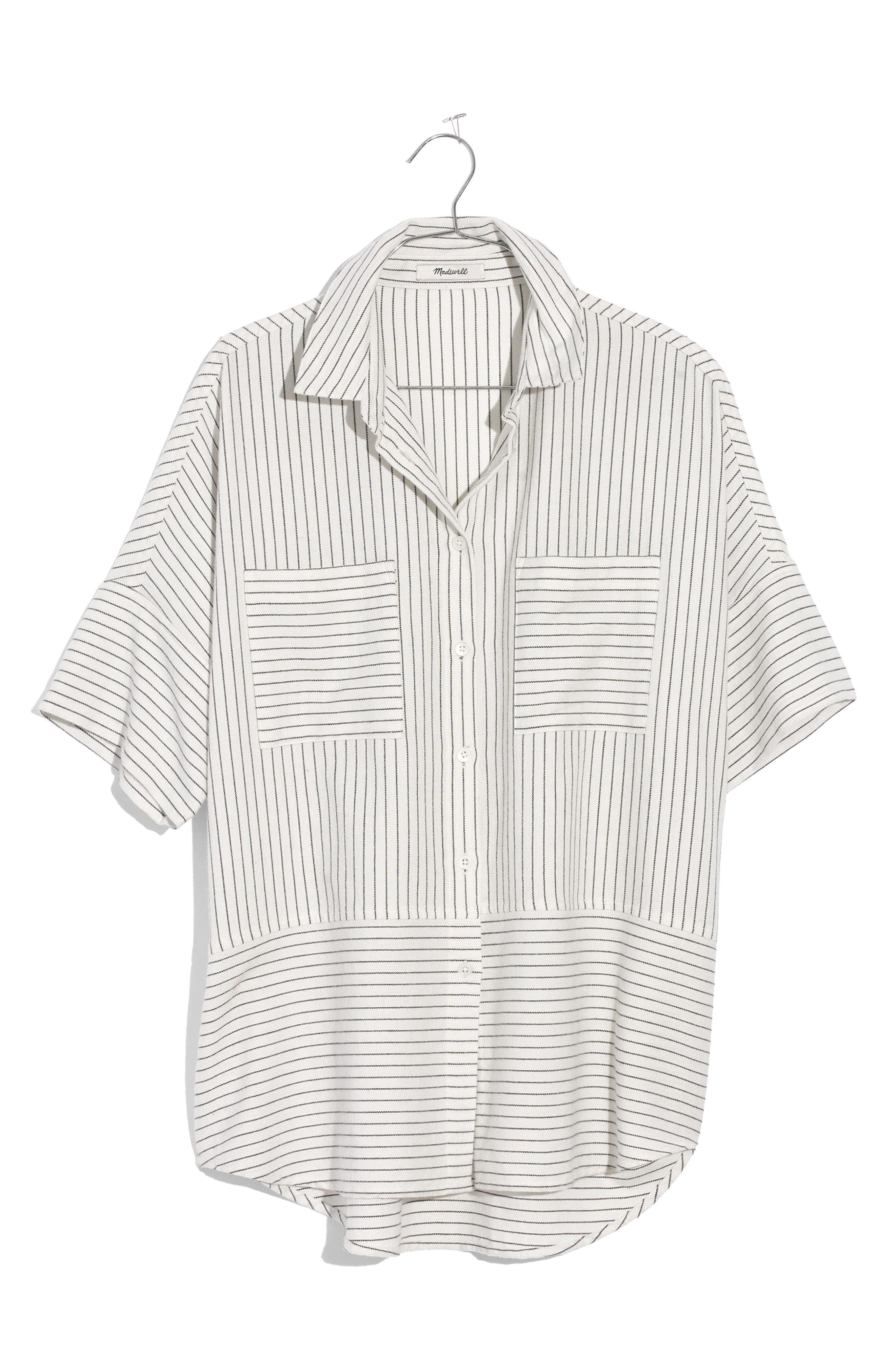 Flannel Courier Shirt,                             Alternate thumbnail 4, color,                             Bright Ivory Jones Stripe