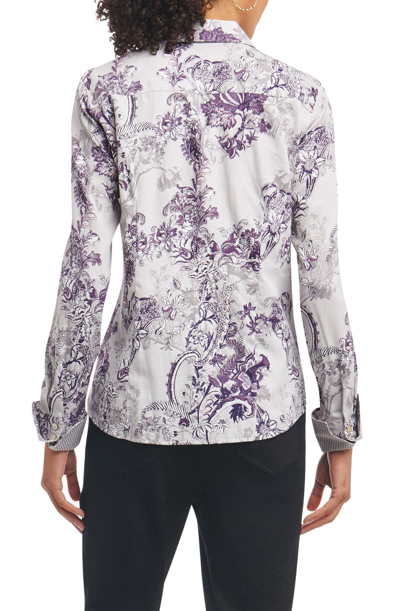Alternate Image 2  - Foxcroft Lauren Floral Tapestry Wrinkle Free Shirt (Regular & Petite)