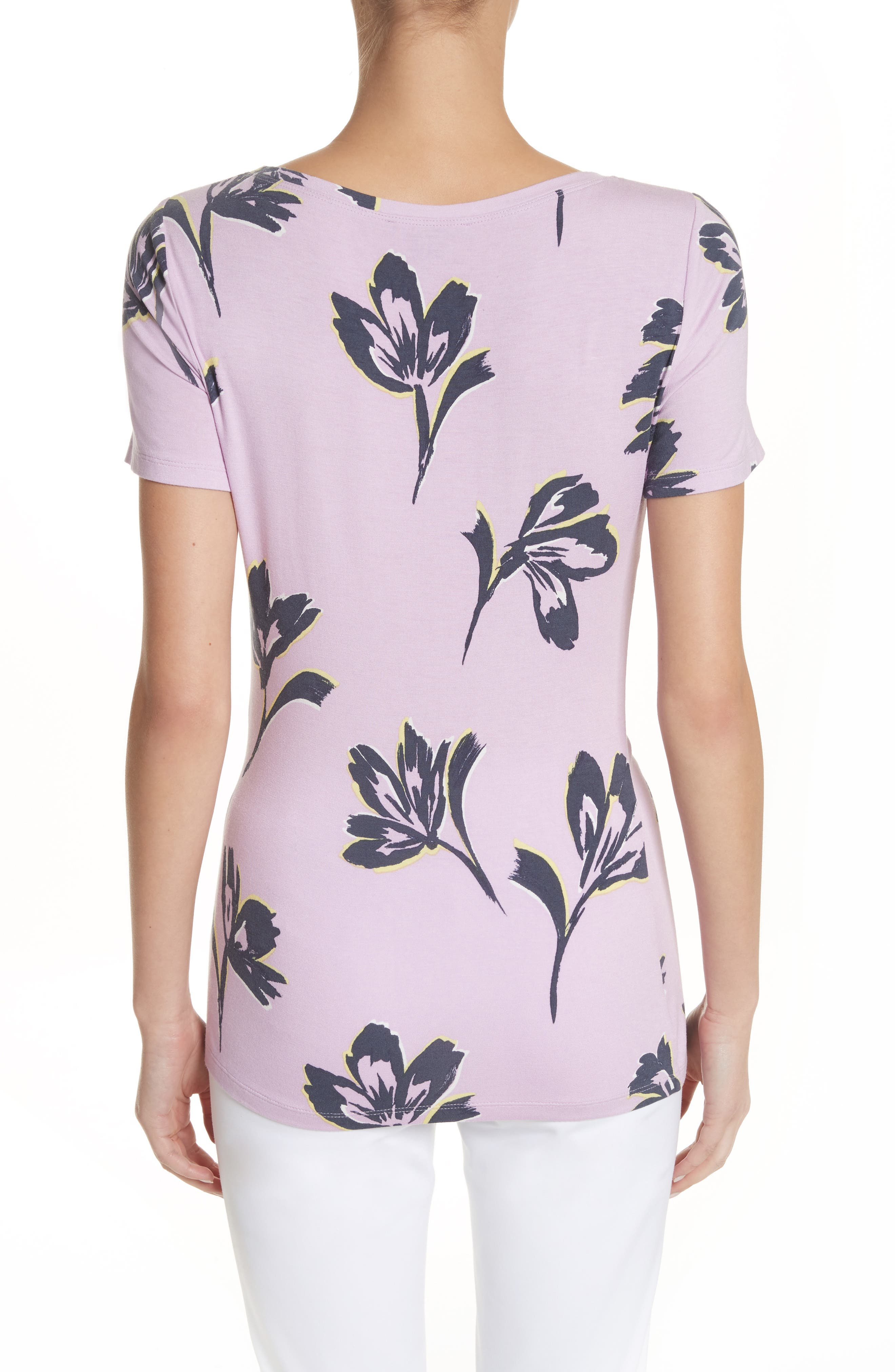 Falling Flower Print Jersey Tee,                             Alternate thumbnail 2, color,                             Orchid Multi