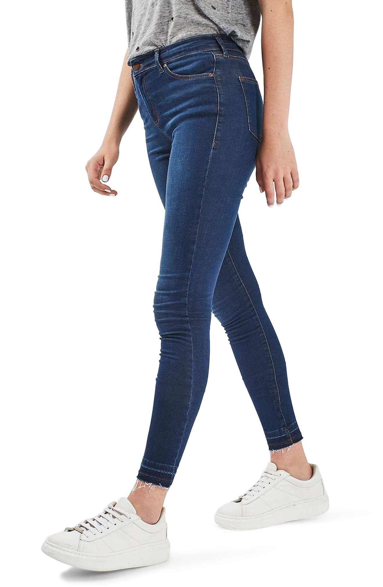 Leigh Release Hem Skinny Jeans,                         Main,                         color, Indigo