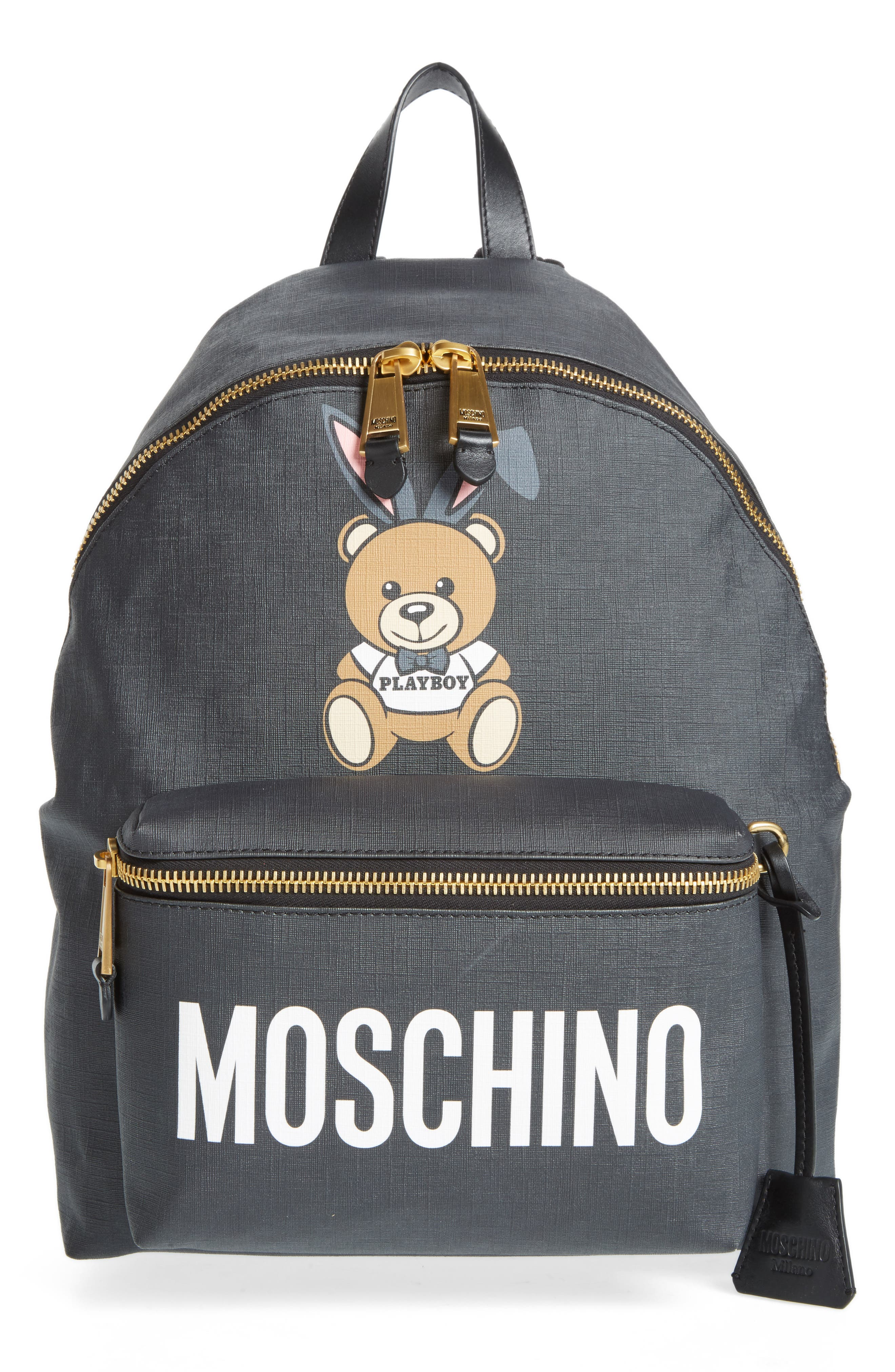 x Playboy Large Bunny Bear Woven Backpack,                         Main,                         color, Black