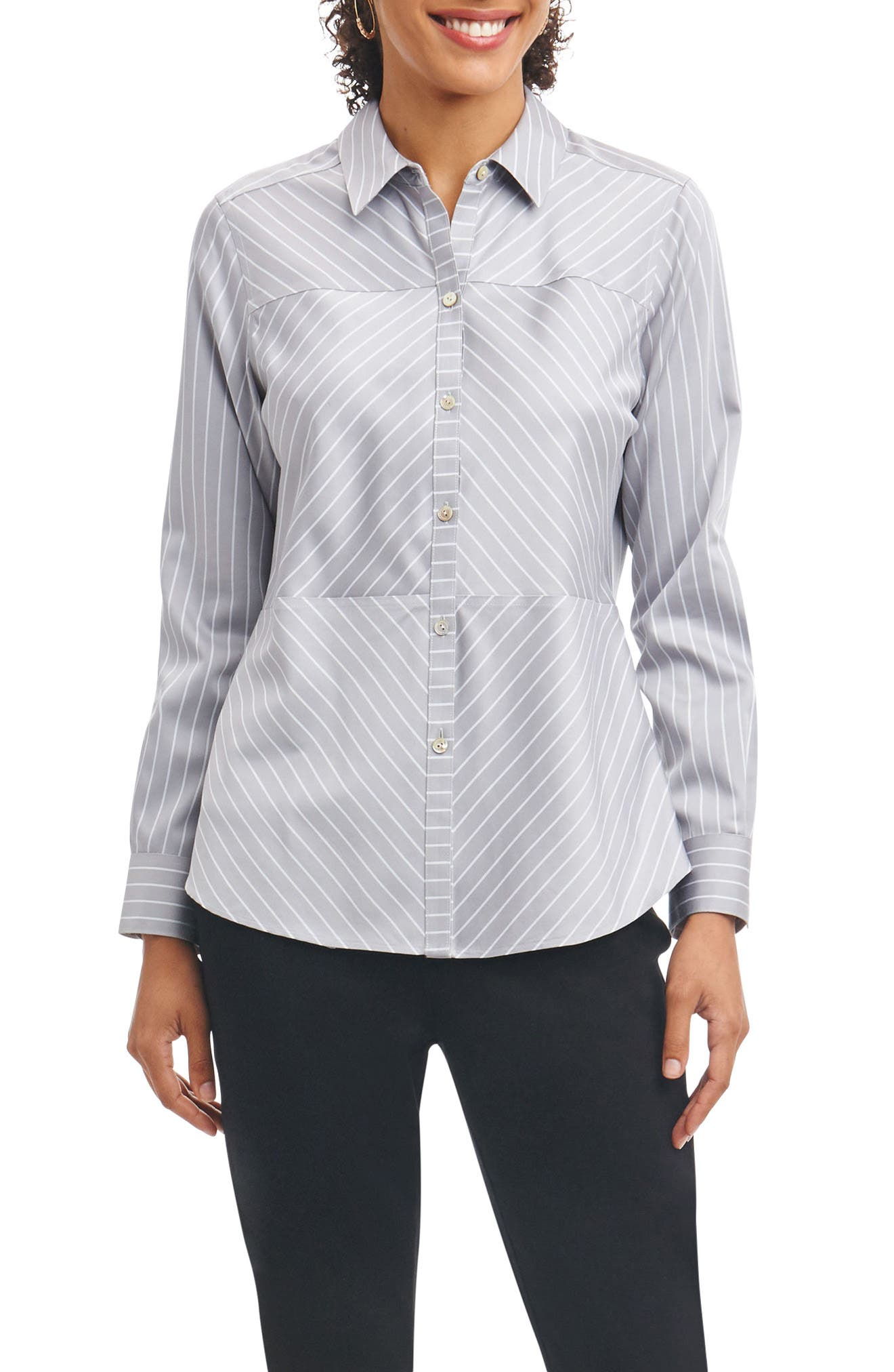 Alternate Image 1 Selected - Foxcroft Monica Non-Iron Stripe Shirt (Regular & Petite)