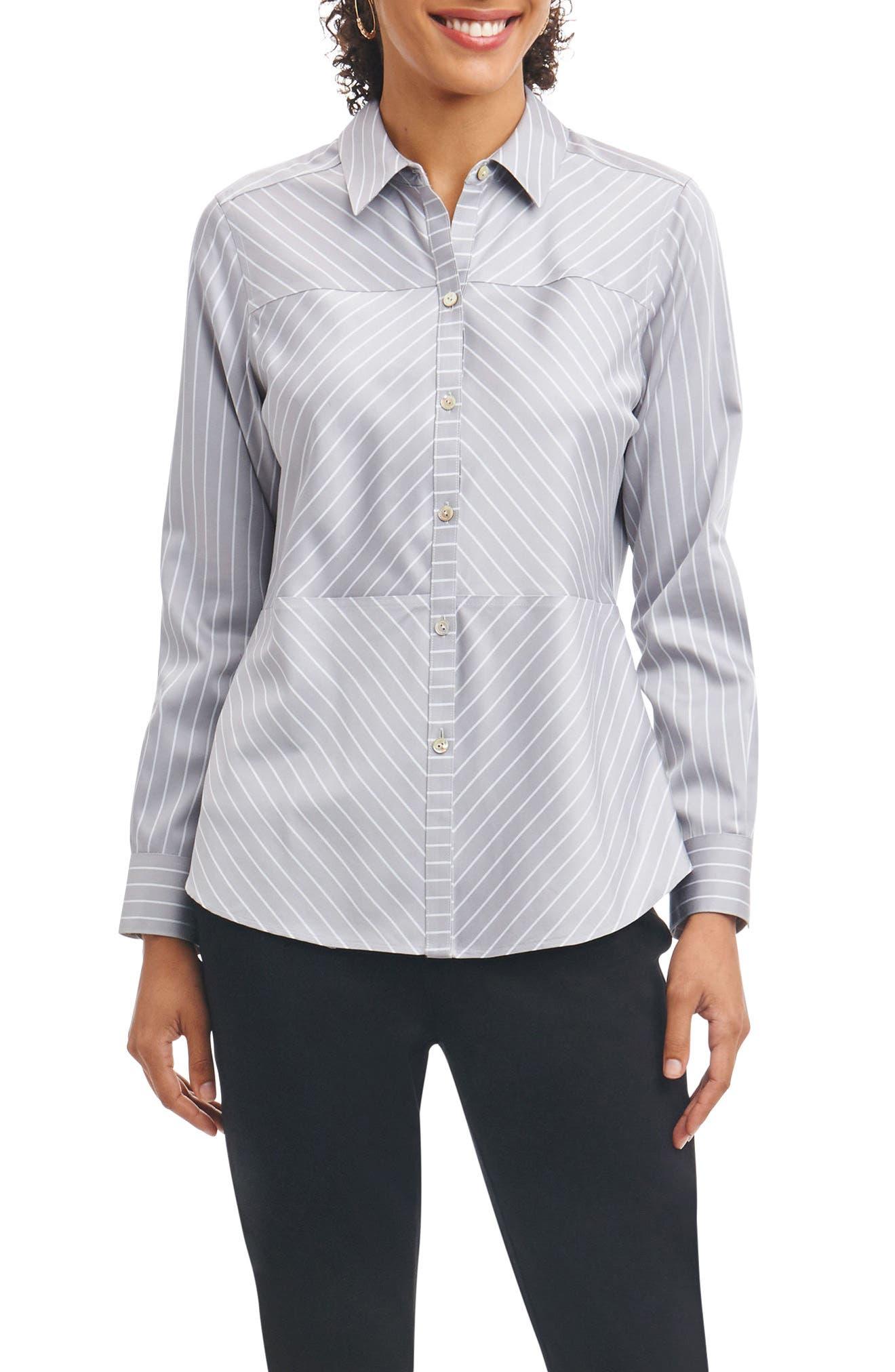 Monica Non-Iron Stripe Shirt,                         Main,                         color, Slate