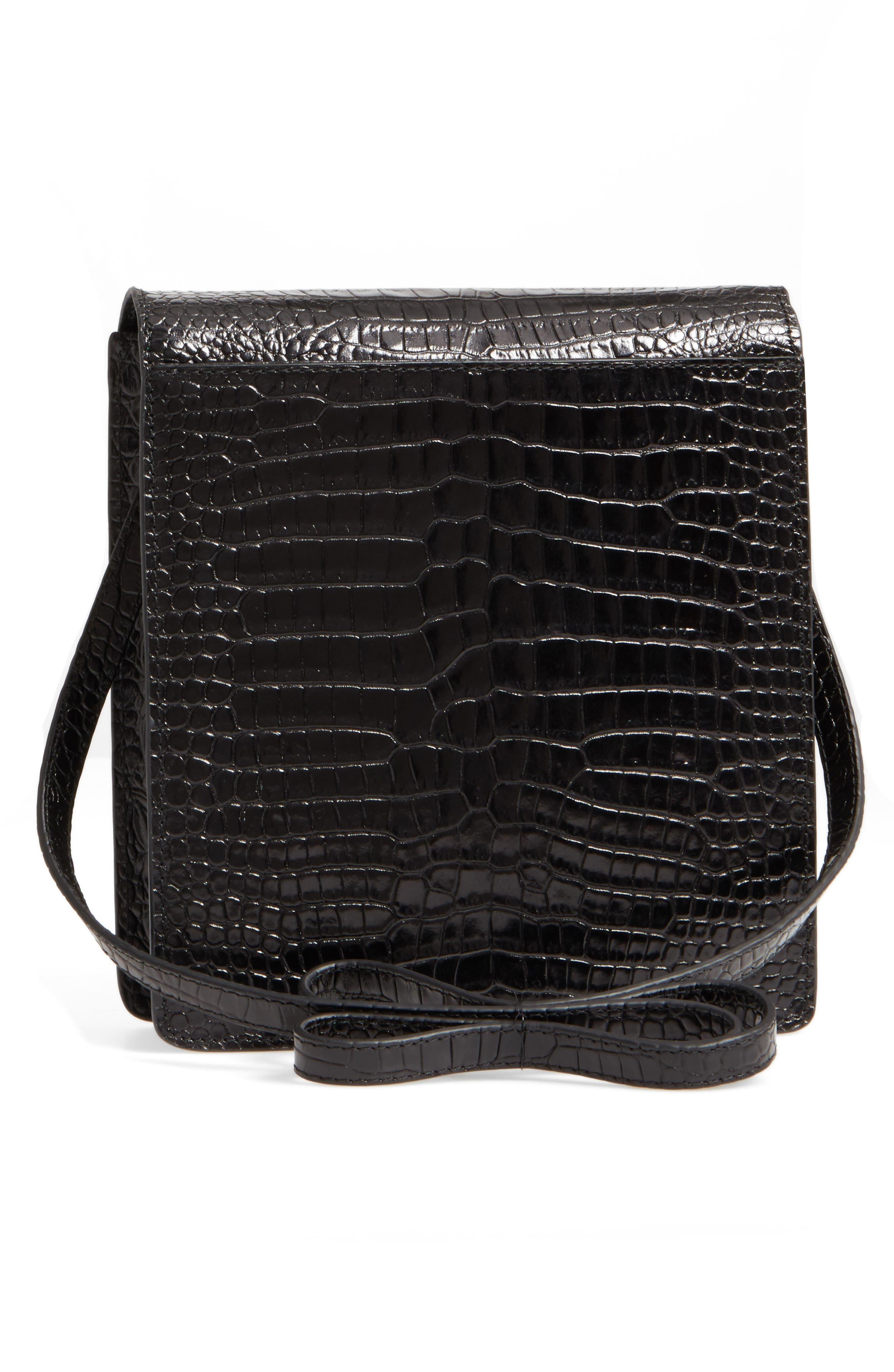 Eloise Leather Crossbody Bag,                             Alternate thumbnail 3, color,                             Black