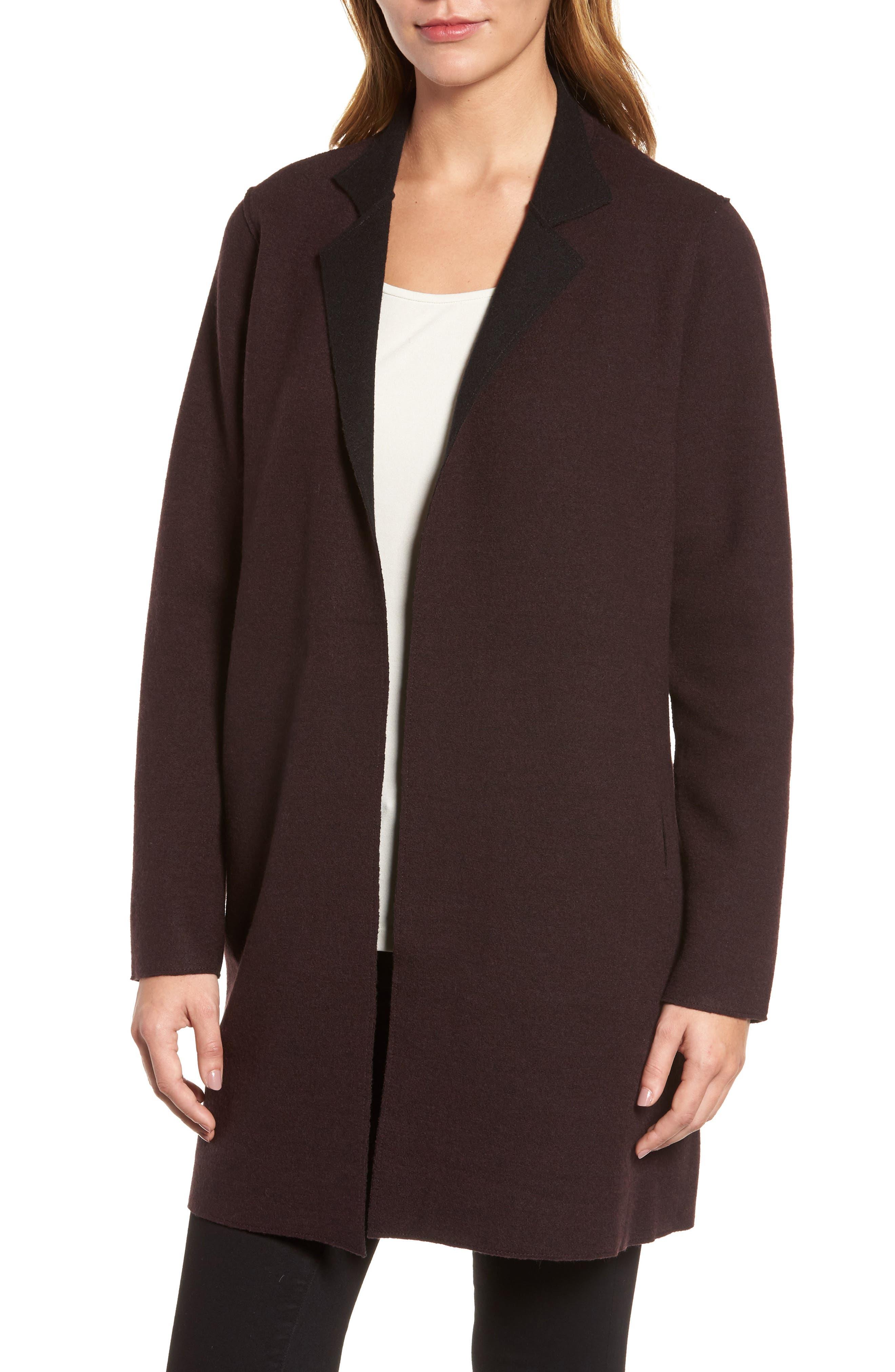Notch Collar Merino Wool Topper,                         Main,                         color, Clove