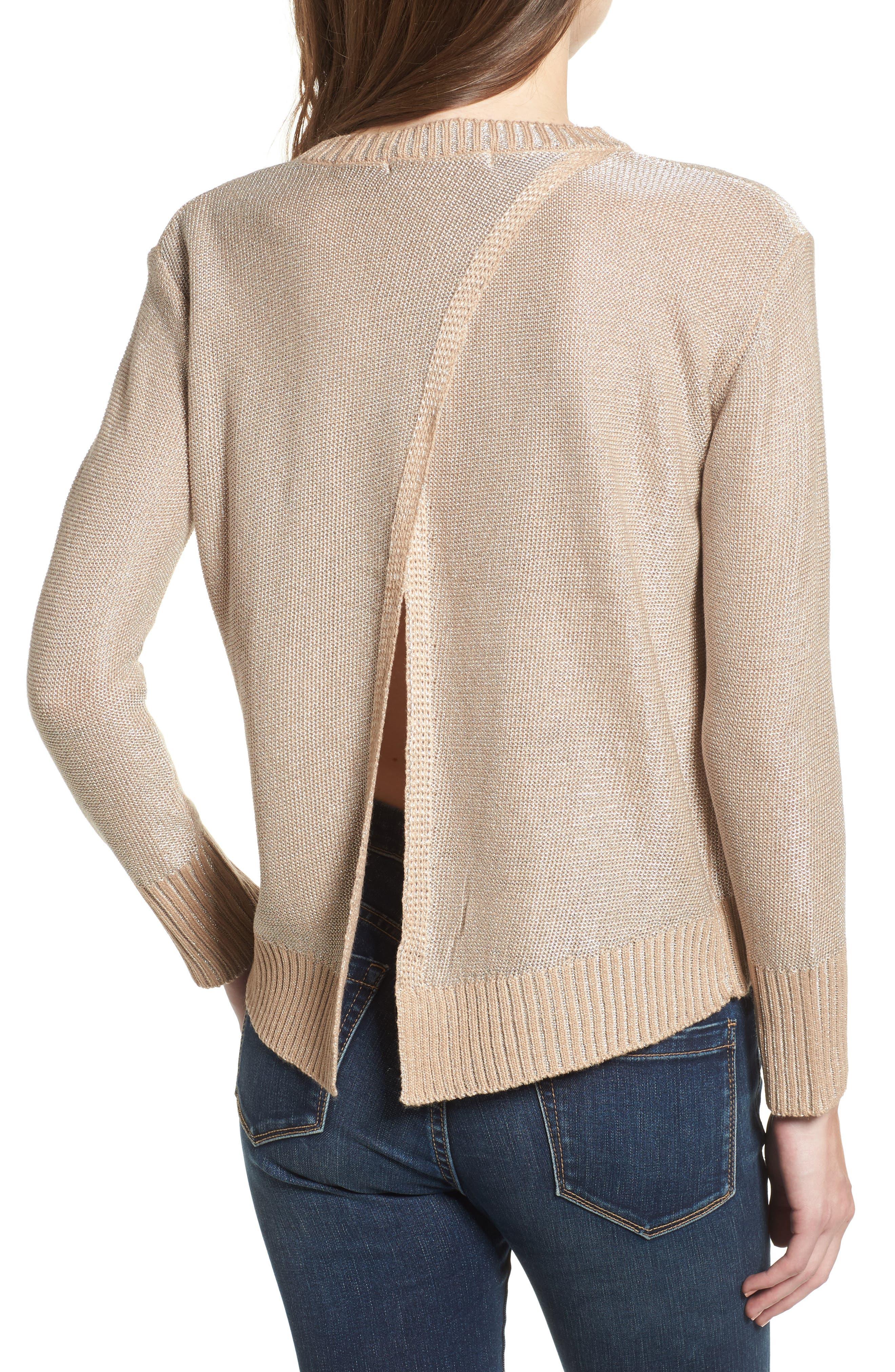 Metallic Flyaway Back Sweater,                             Alternate thumbnail 2, color,                             Taupe/ Silver