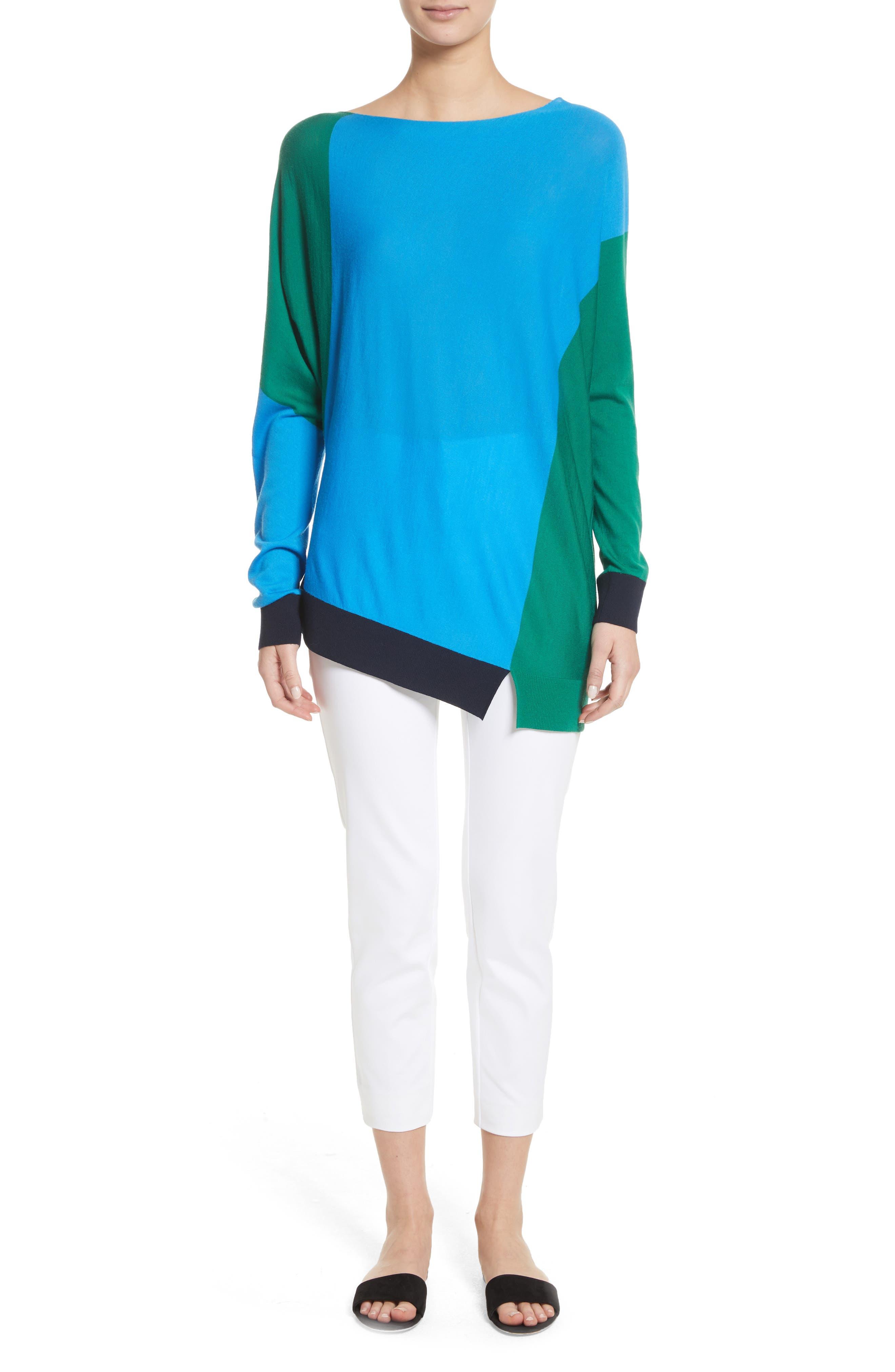 Colorblock Knit Wool Sweater,                             Alternate thumbnail 7, color,                             Cyan/ Emerald/ Navy