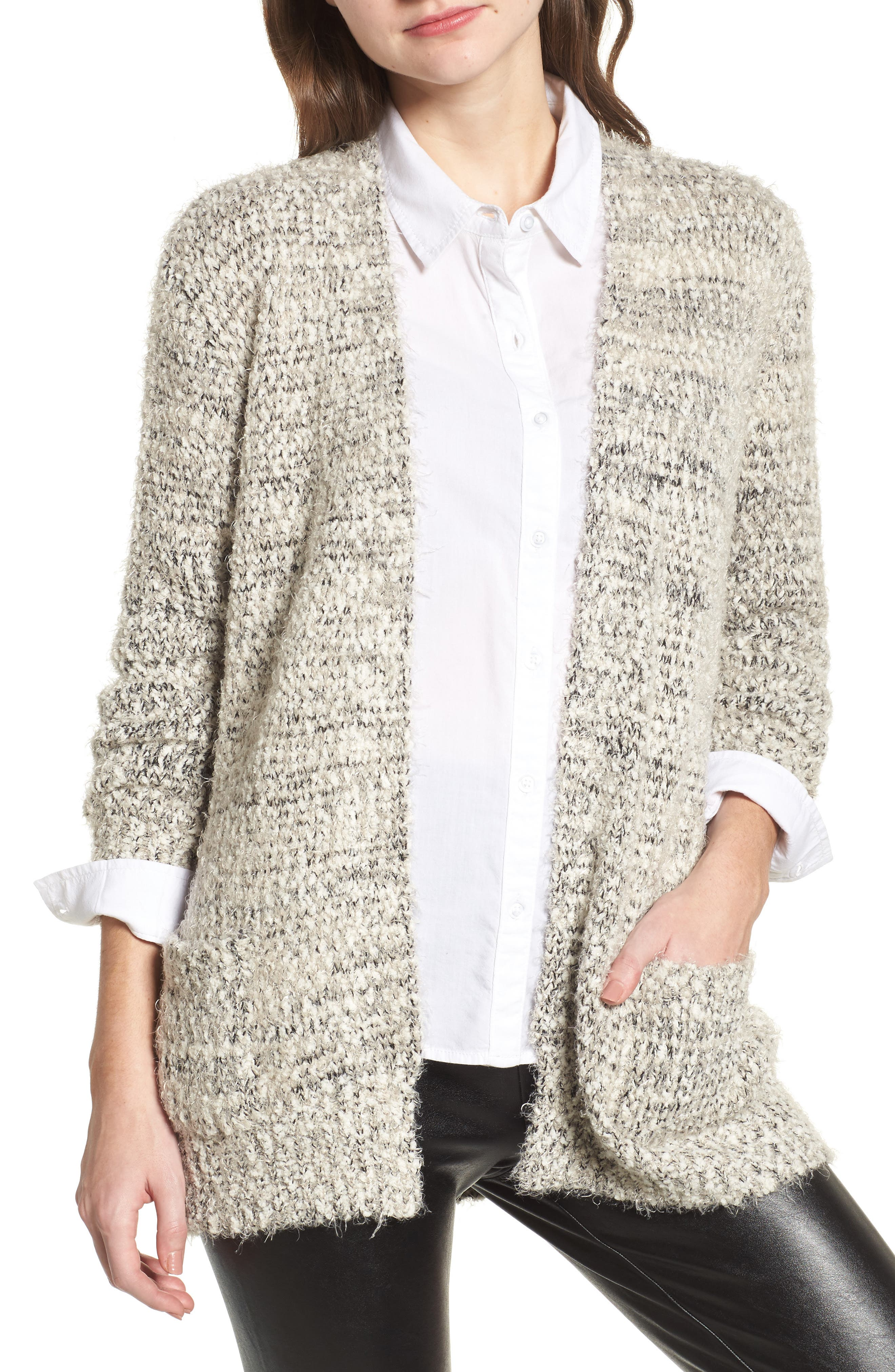 Marled Cardigan,                         Main,                         color, Taupe