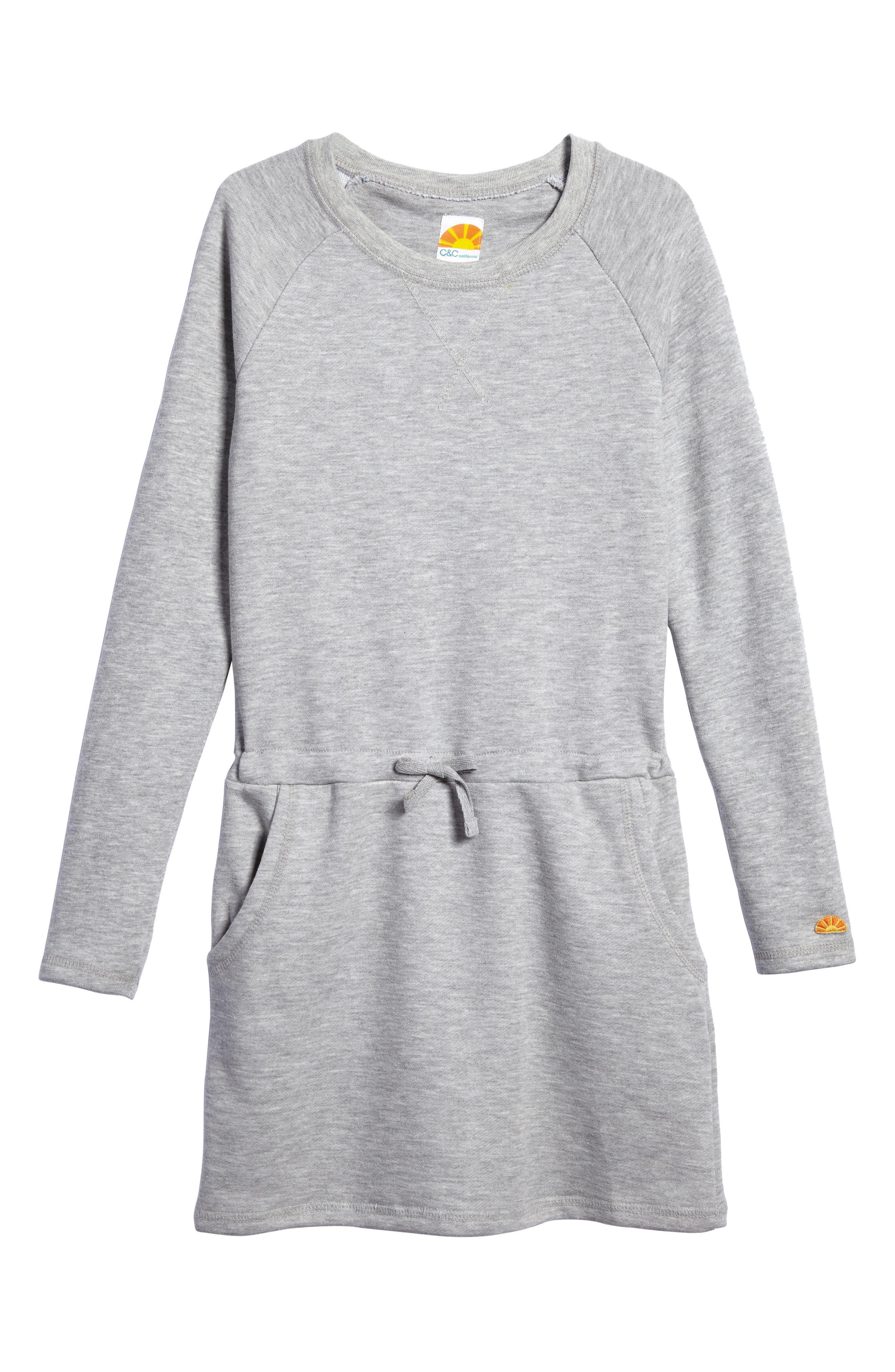 Sweatshirt Dress,                         Main,                         color, Pearl Heather