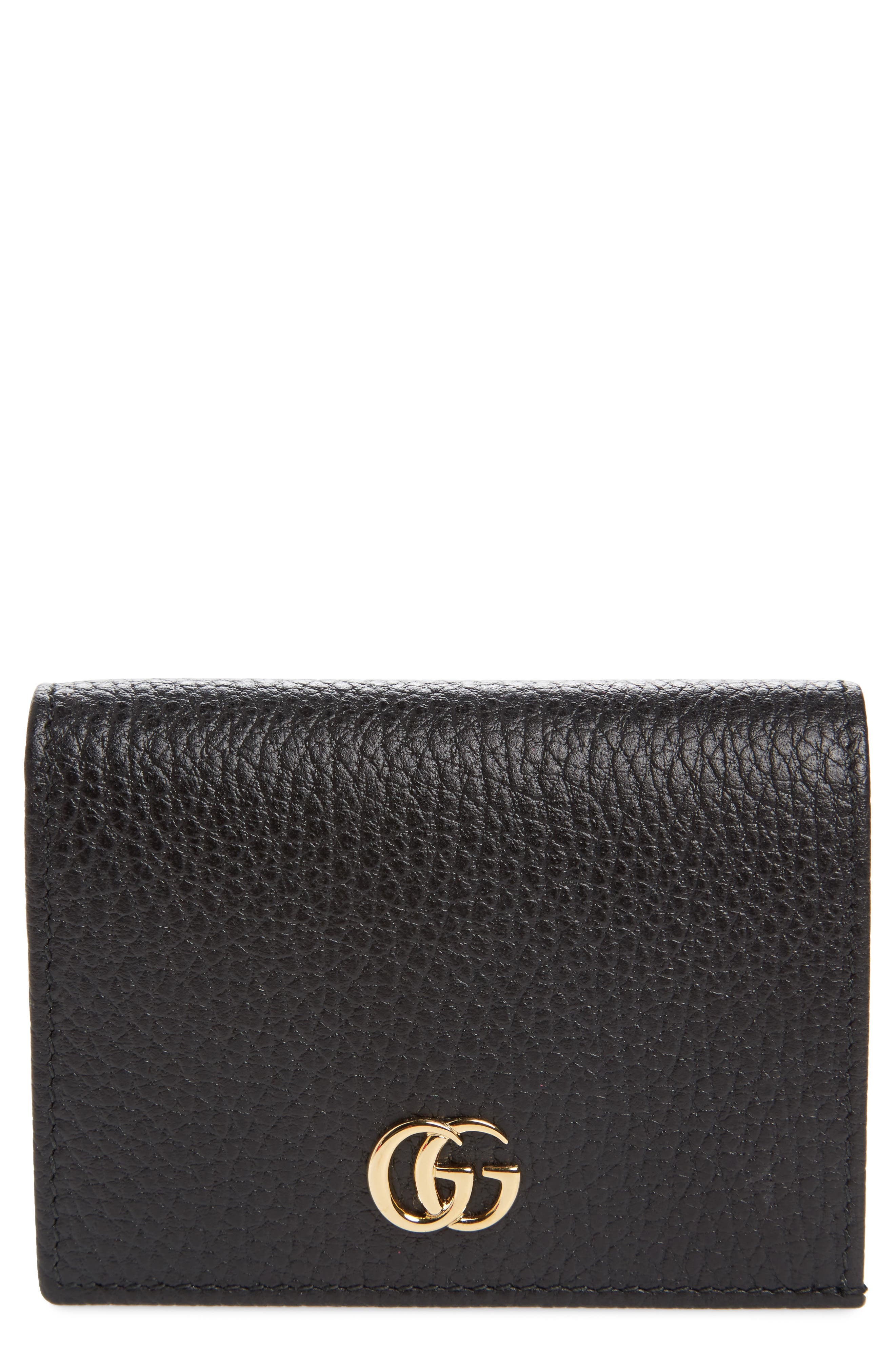 Petite Marmont Leather Card Case,                             Main thumbnail 1, color,                             Nero/ Nero