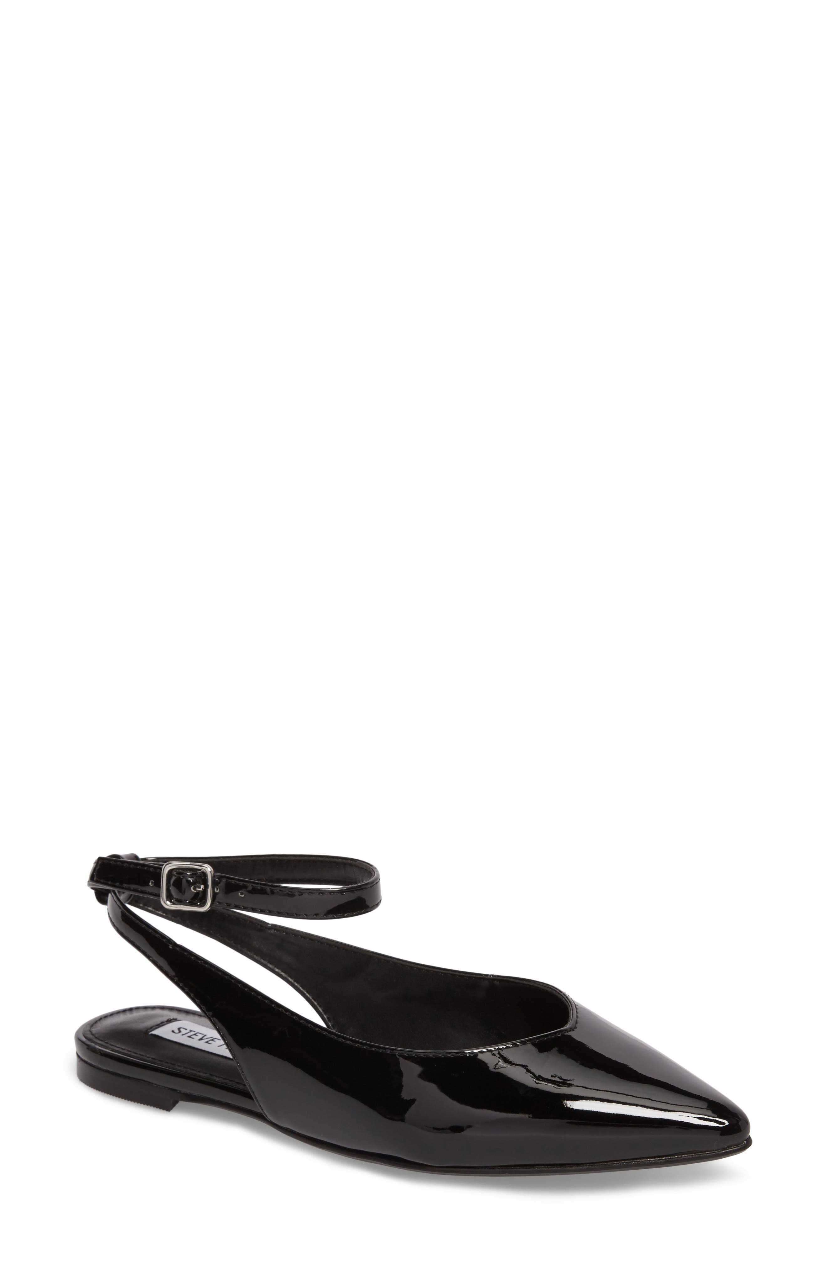 Cupid Ankle Strap Flat,                             Main thumbnail 1, color,                             Black Patent Leather