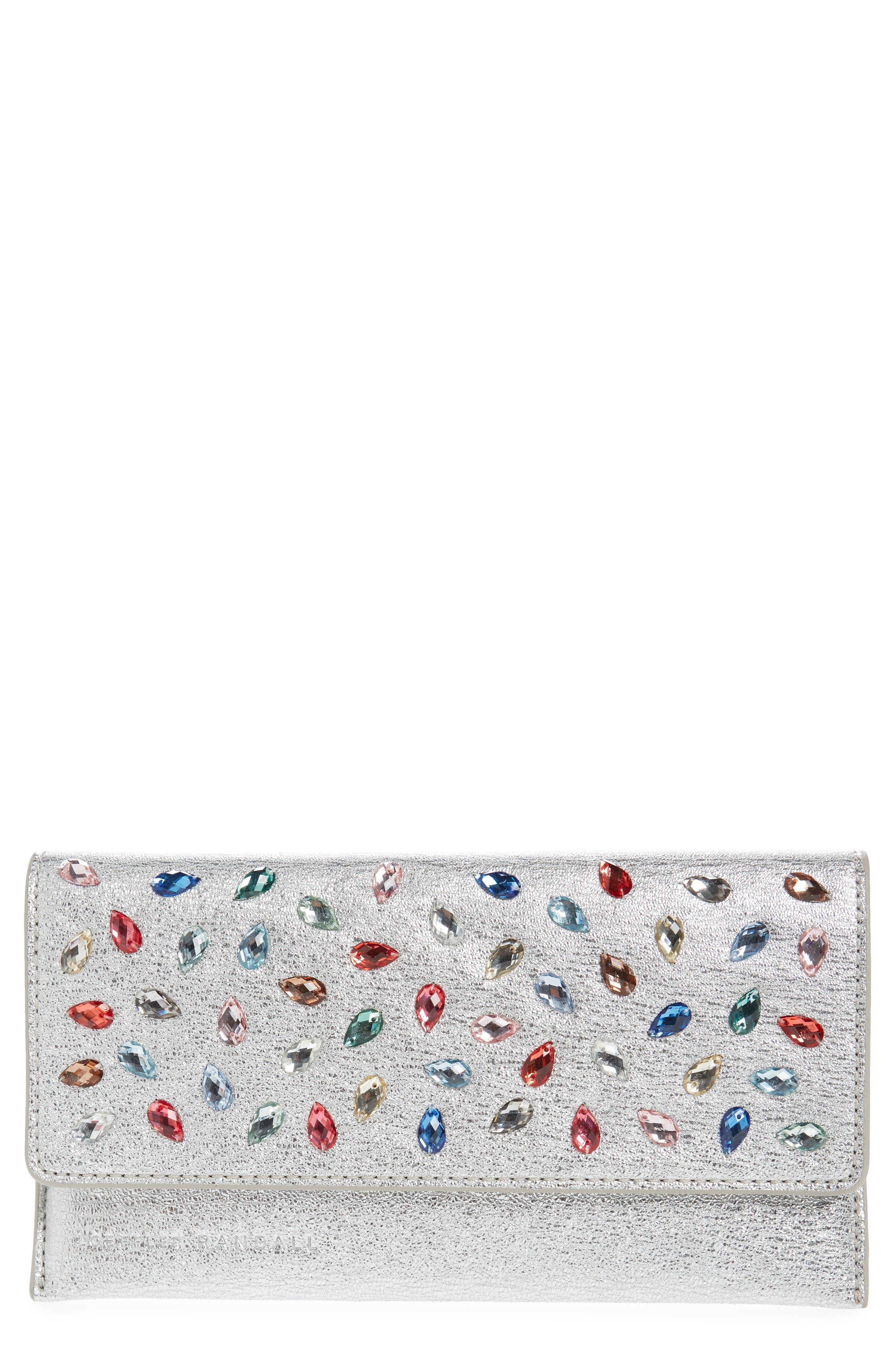 Everything Crystal Embellished Leather Wallet,                         Main,                         color, Silver/ Multi