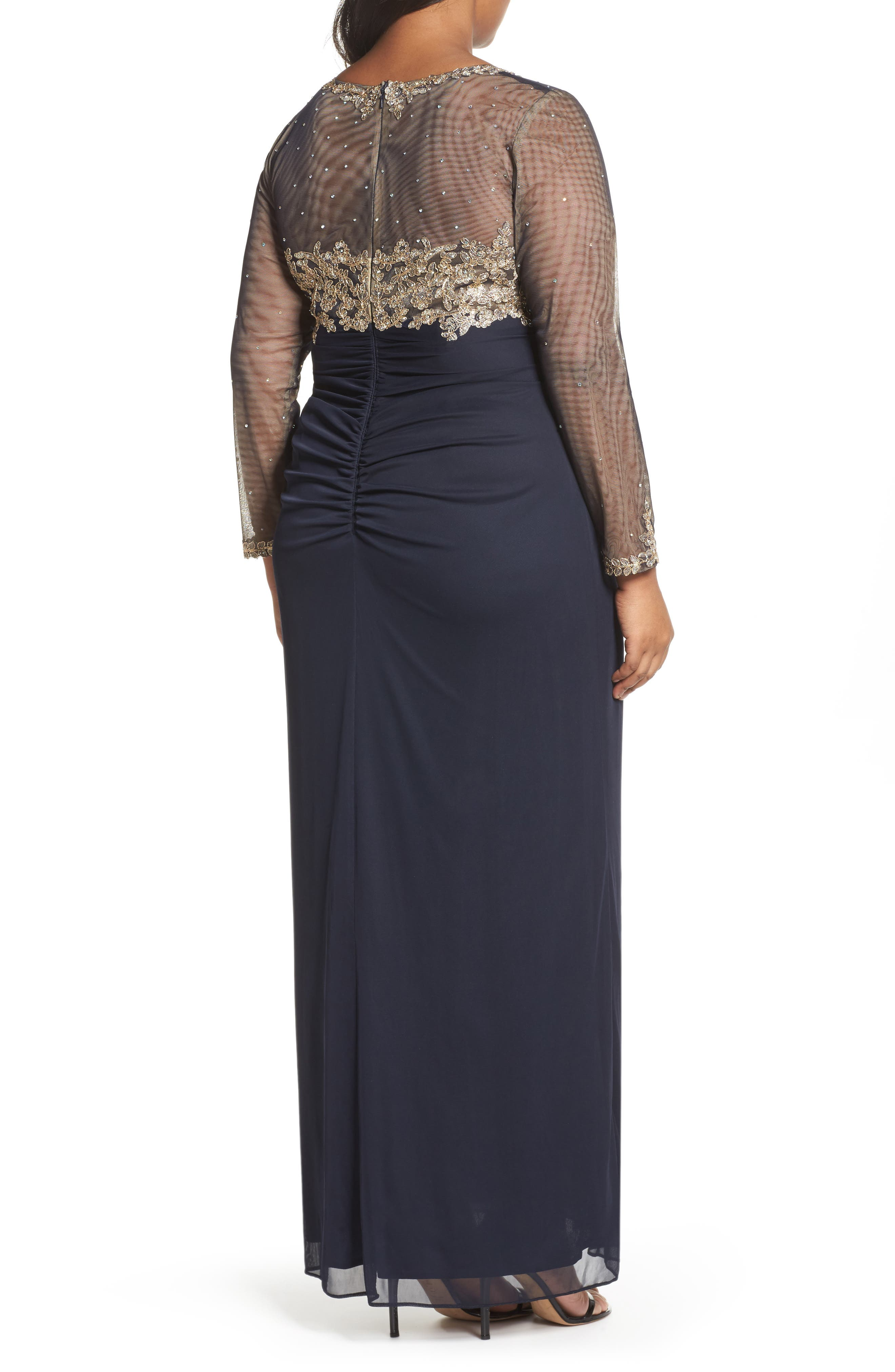 Embellished Mesh & Jersey Gown,                             Alternate thumbnail 2, color,                             Navy/ Gold