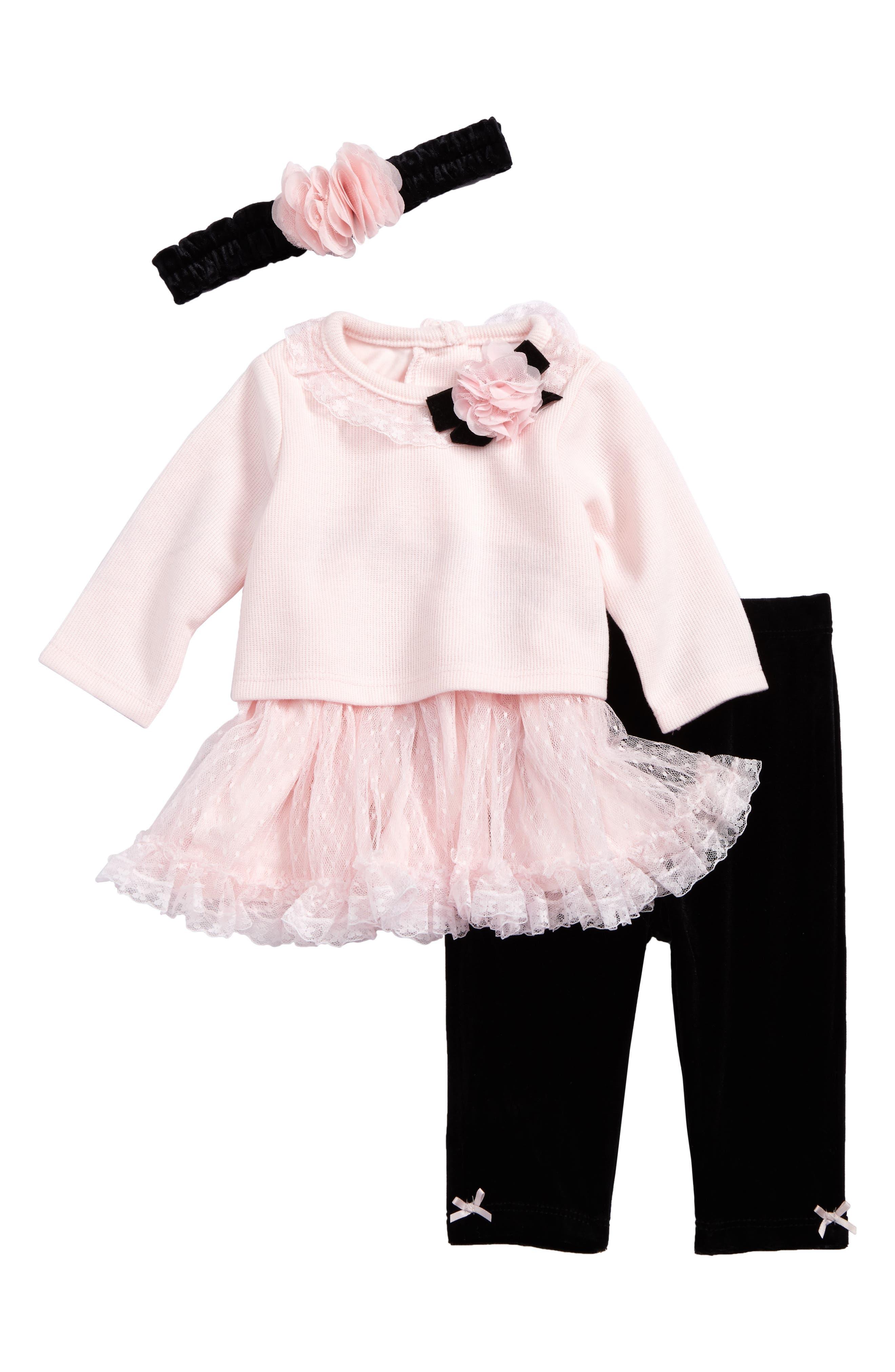 Little Me Sweet Dress, Leggings & Headband Set (Baby Girls)
