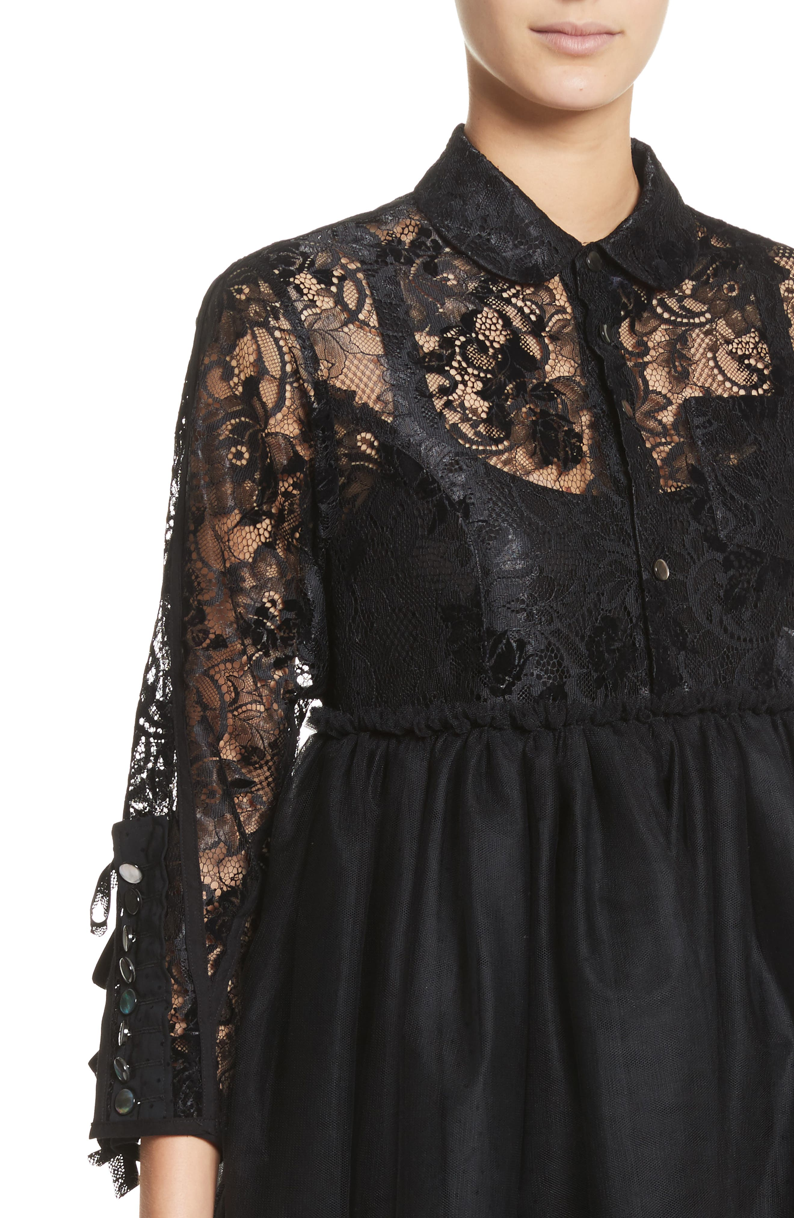 Lace Bodice Shirtdress with Tulle Skirt,                             Alternate thumbnail 4, color,                             Blk/Blk X Blk
