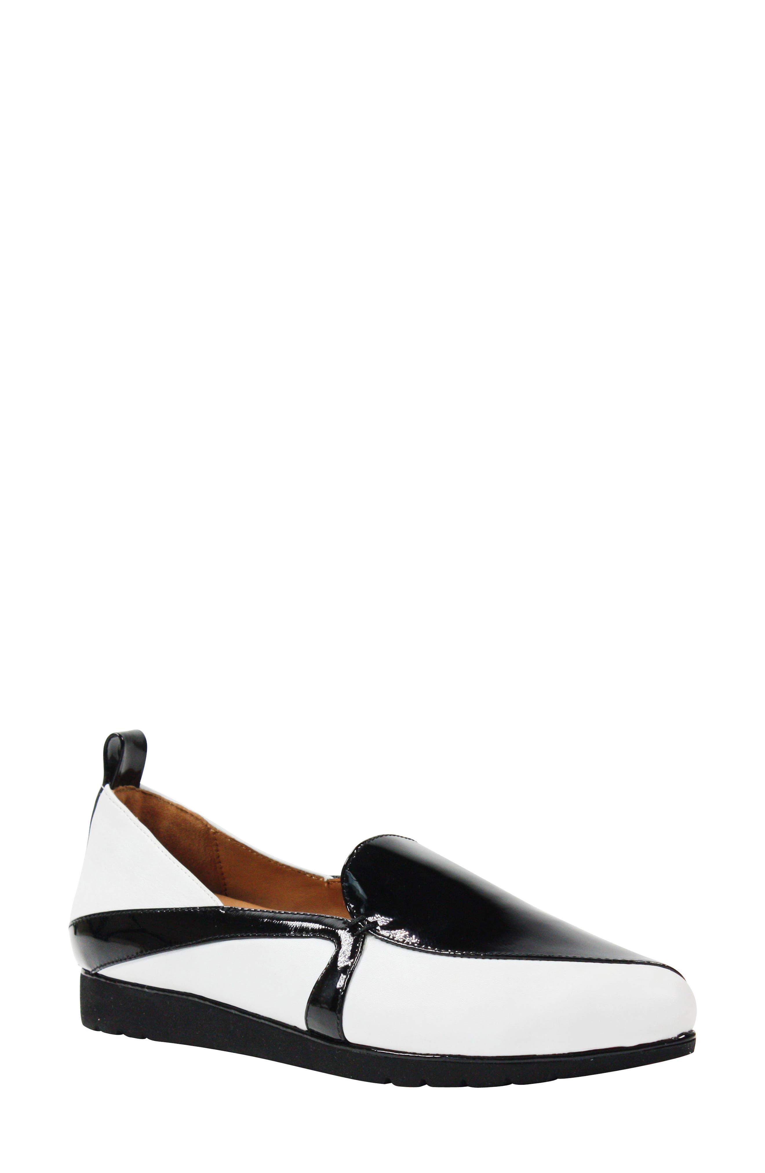 Marjolaina Loafer,                             Main thumbnail 1, color,                             Black/ White Patent Leather