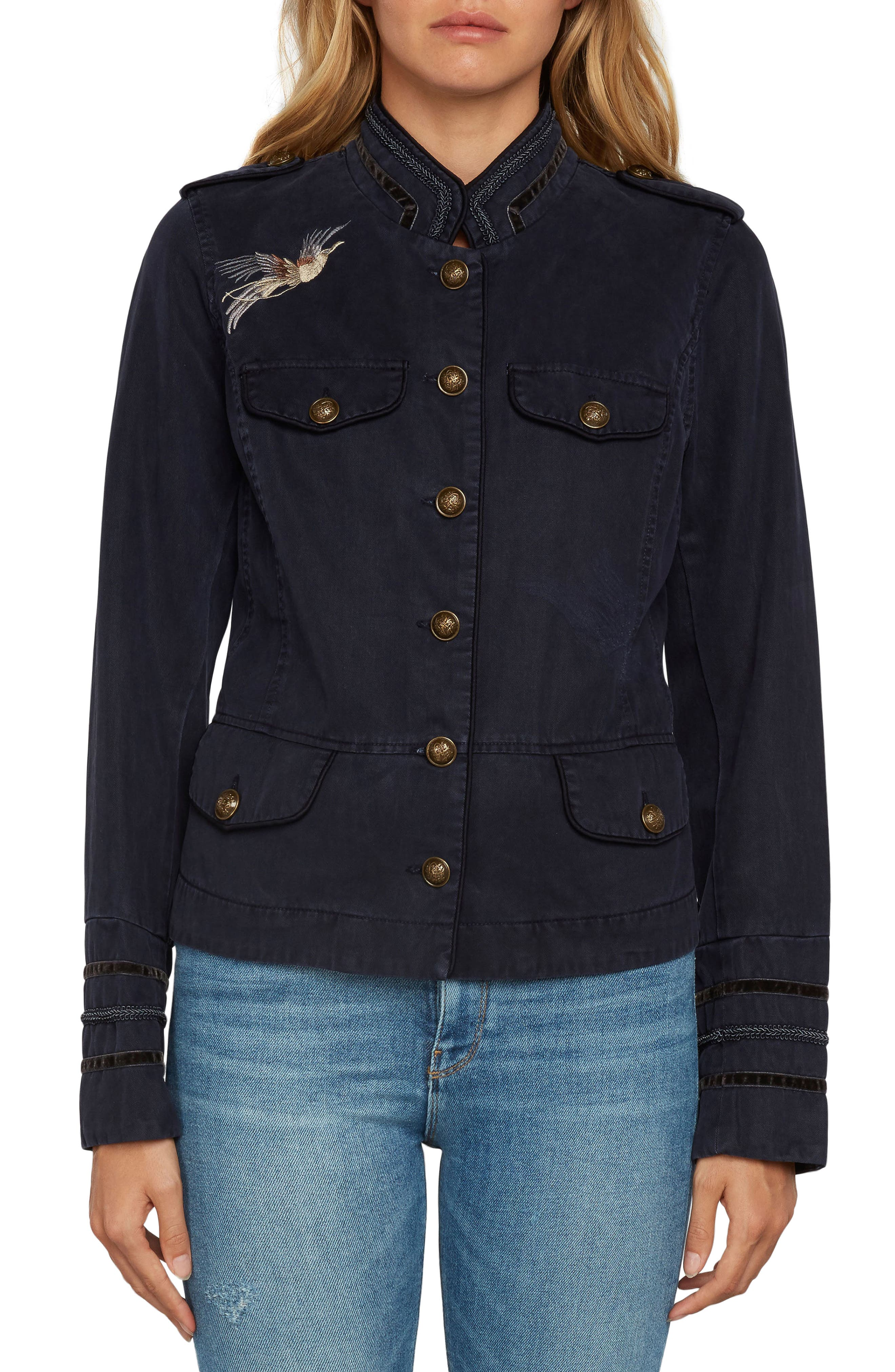 Embroidered Twill Jacket,                         Main,                         color, Navy
