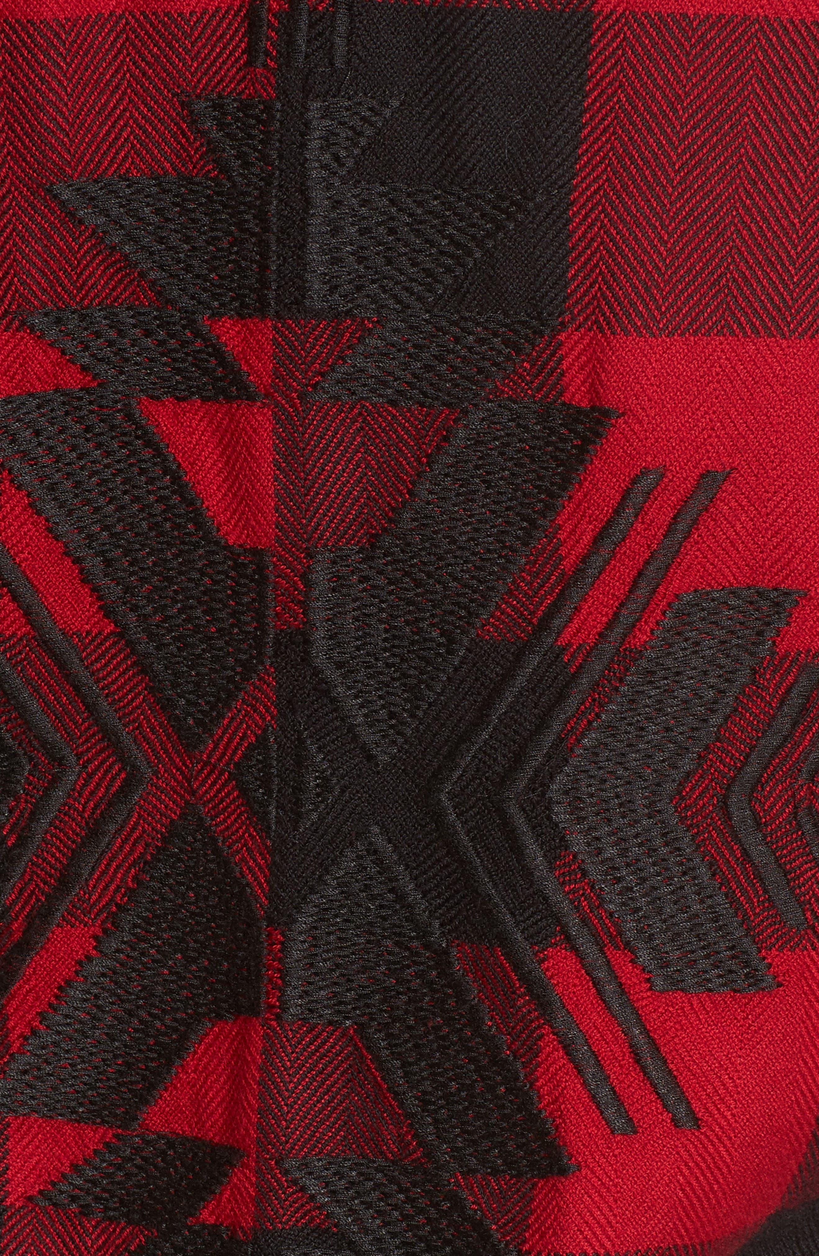 Larsson Embroidered Flannel Shirt,                             Alternate thumbnail 6, color,                             Crimson Jet
