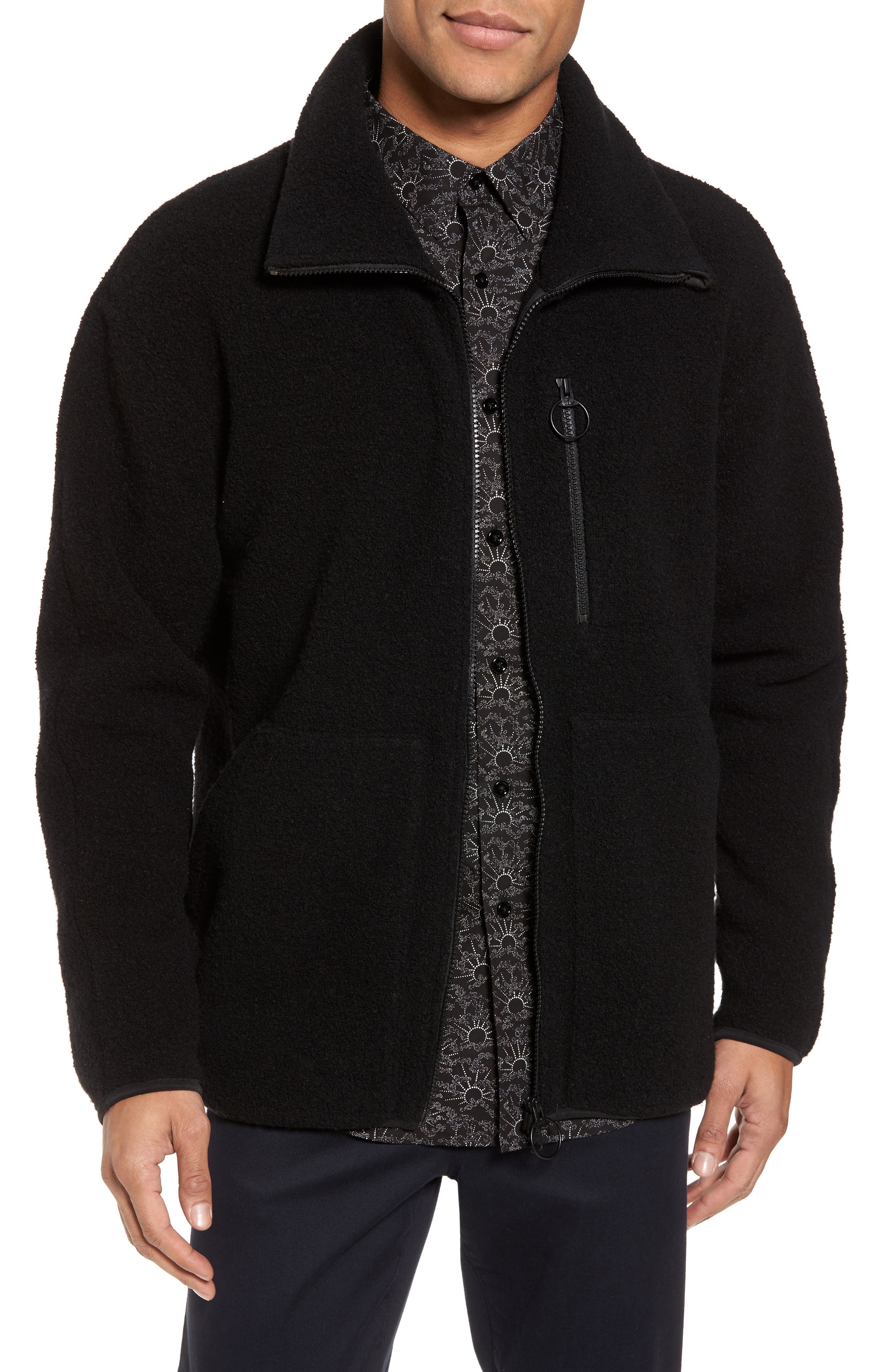 Funnel Neck Arctic Fleece Jacket,                         Main,                         color, Black