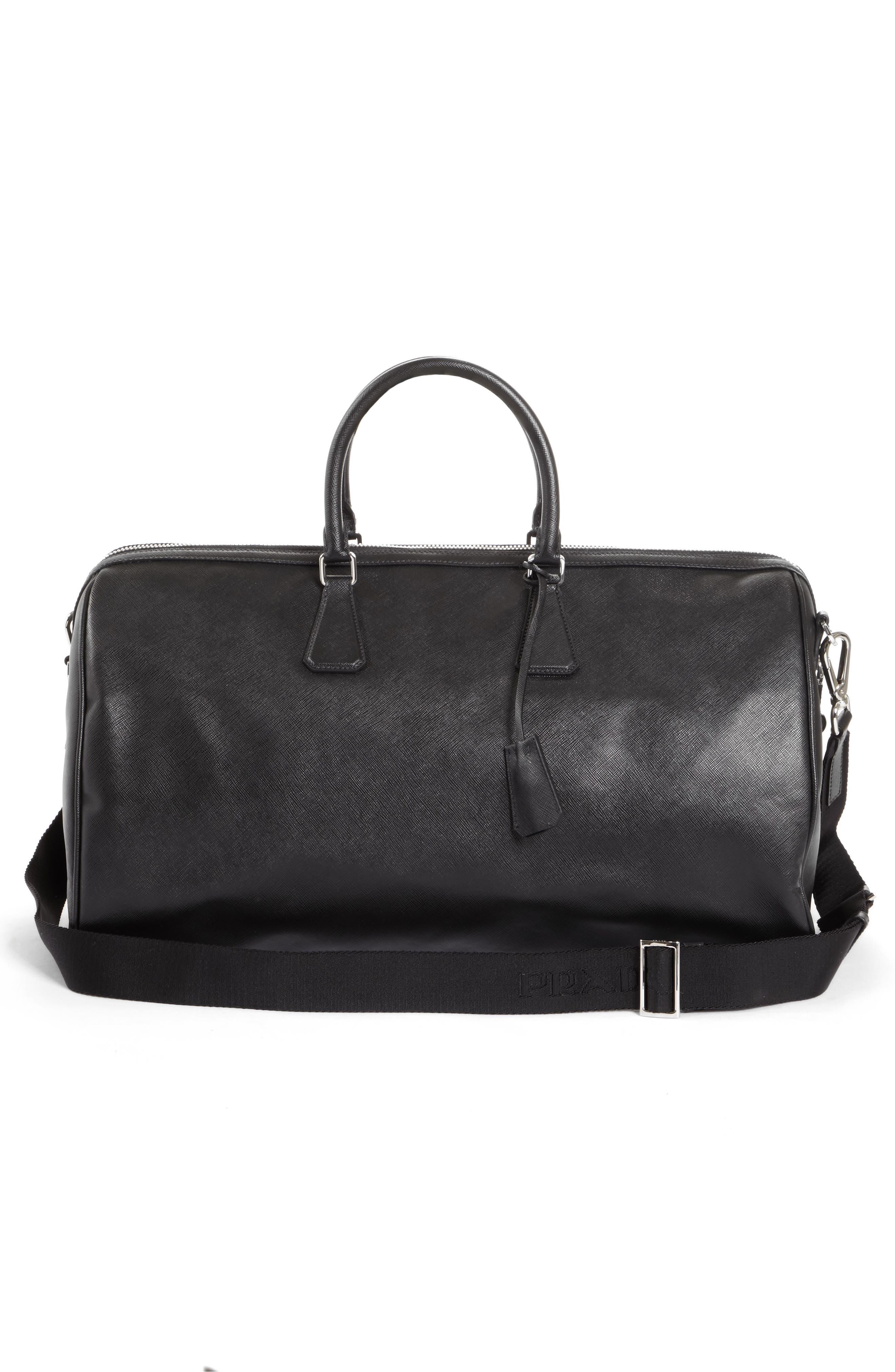Saffiano Leather Duffel Bag,                             Alternate thumbnail 3, color,                             F0002 Nero