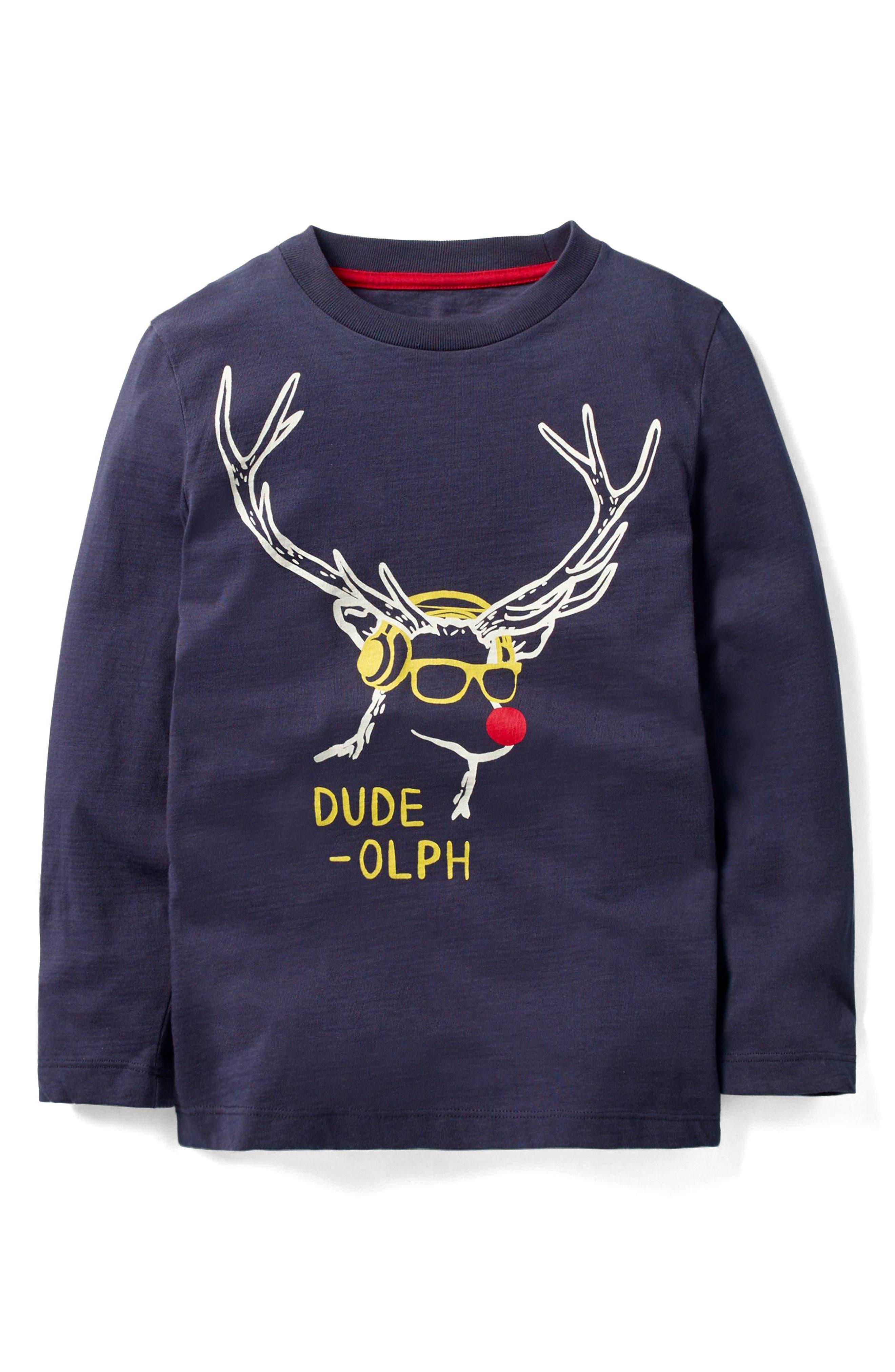 Mini Boden Festive Graphic Dude-Olph T-Shirt (Little Boys & Big Boys)
