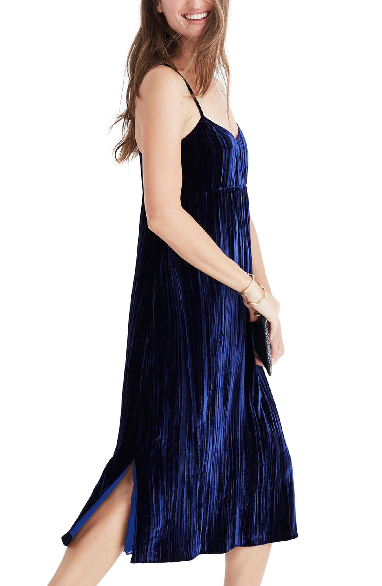 Crushed Velvet Slipdress,                             Alternate thumbnail 3, color,                             Nightfall