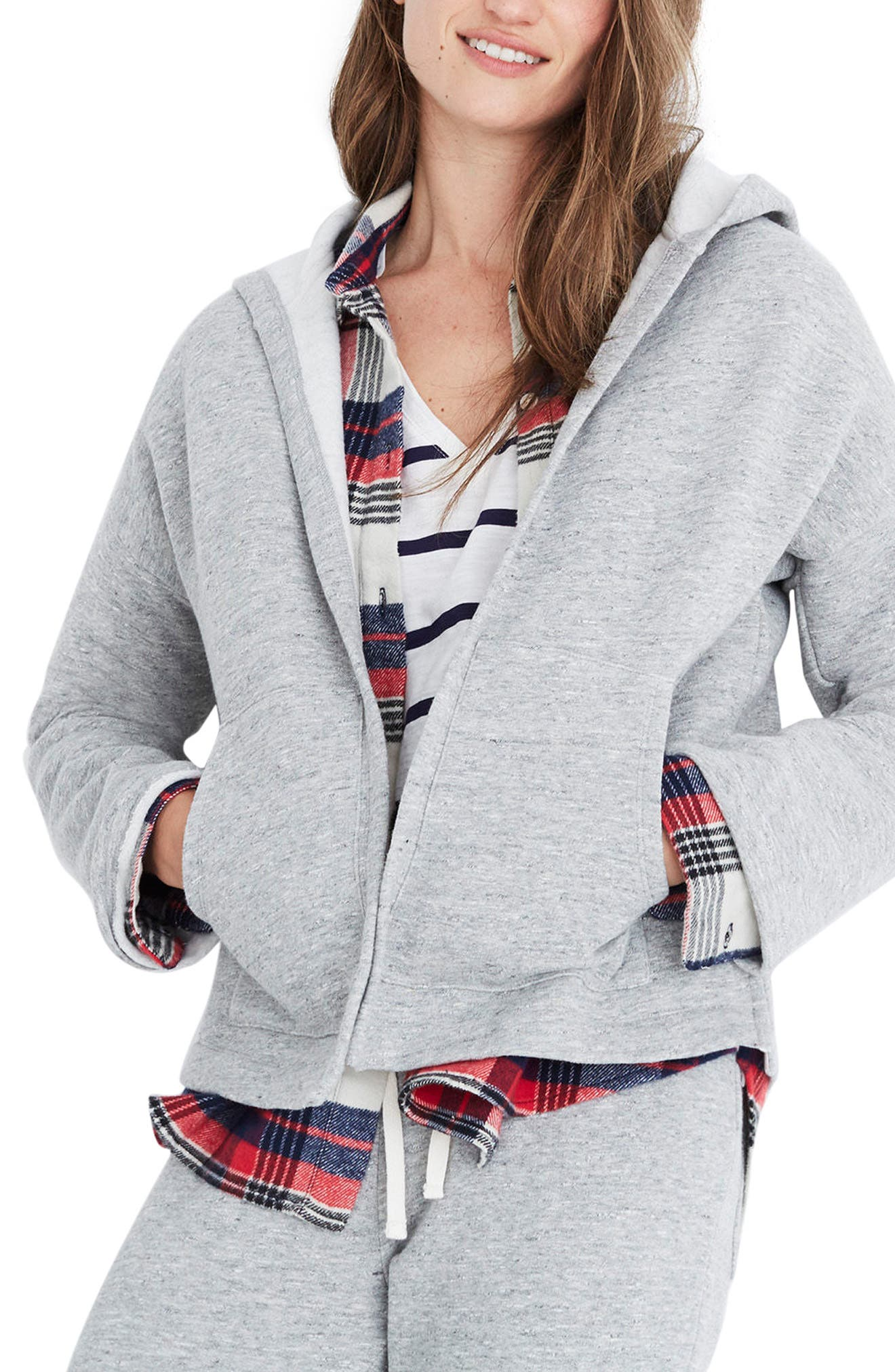 Hooded Cardigan,                         Main,                         color, Heather Concrete