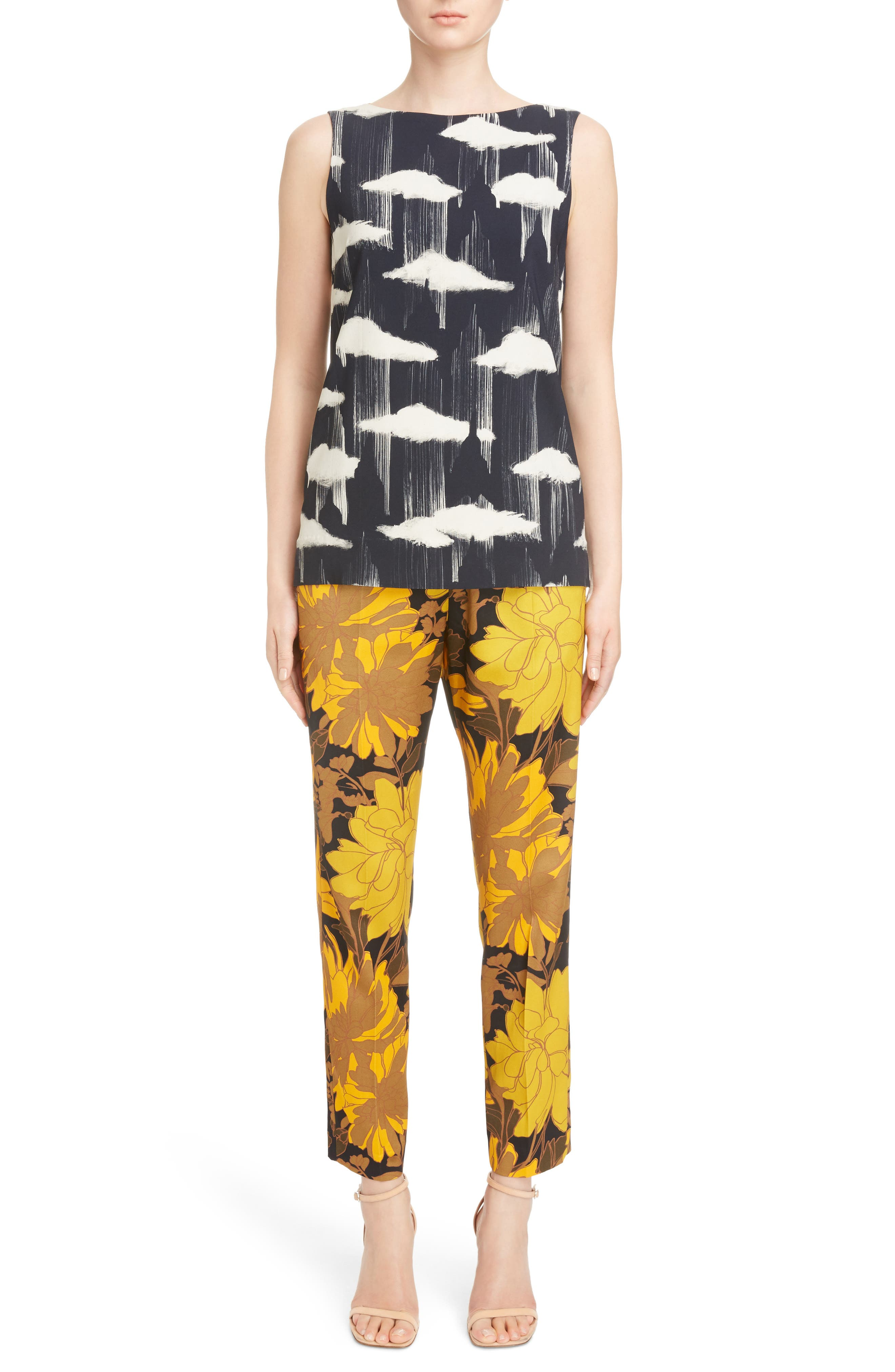 Print Ankle Pants,                             Alternate thumbnail 2, color,                             Yellow