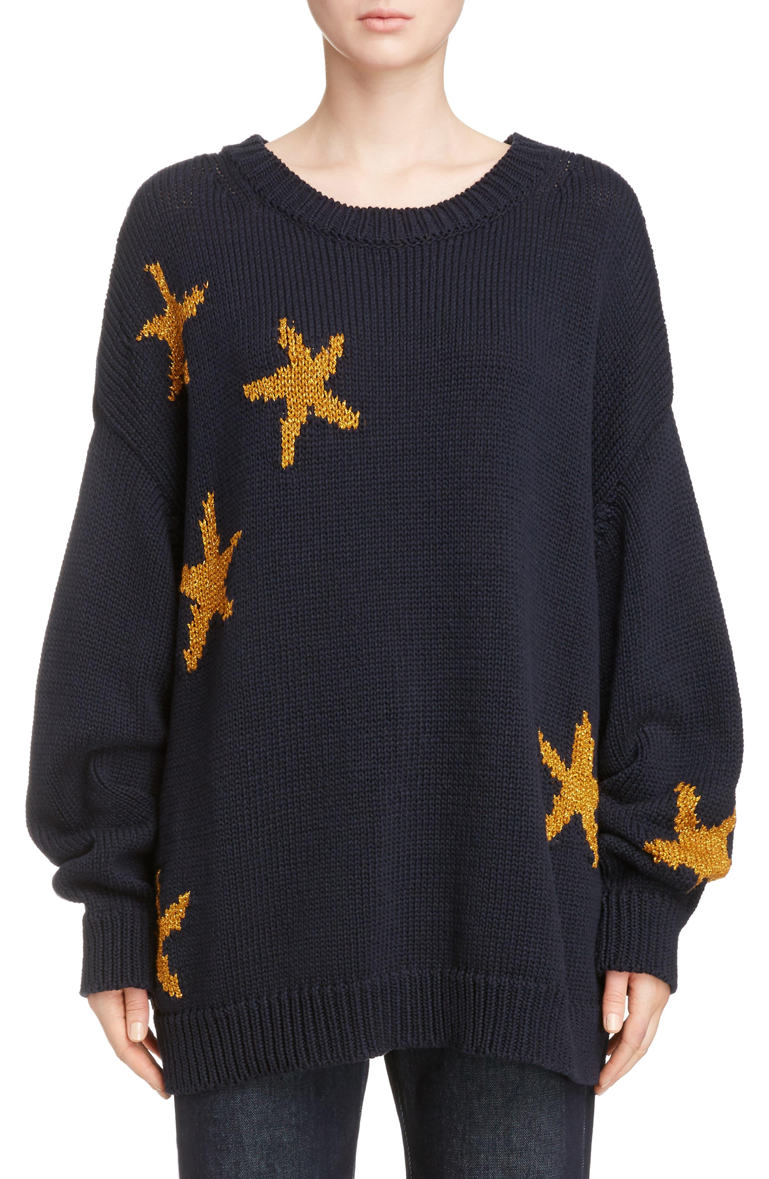 Starfish Intarsia Sweater,                         Main,                         color, Navy