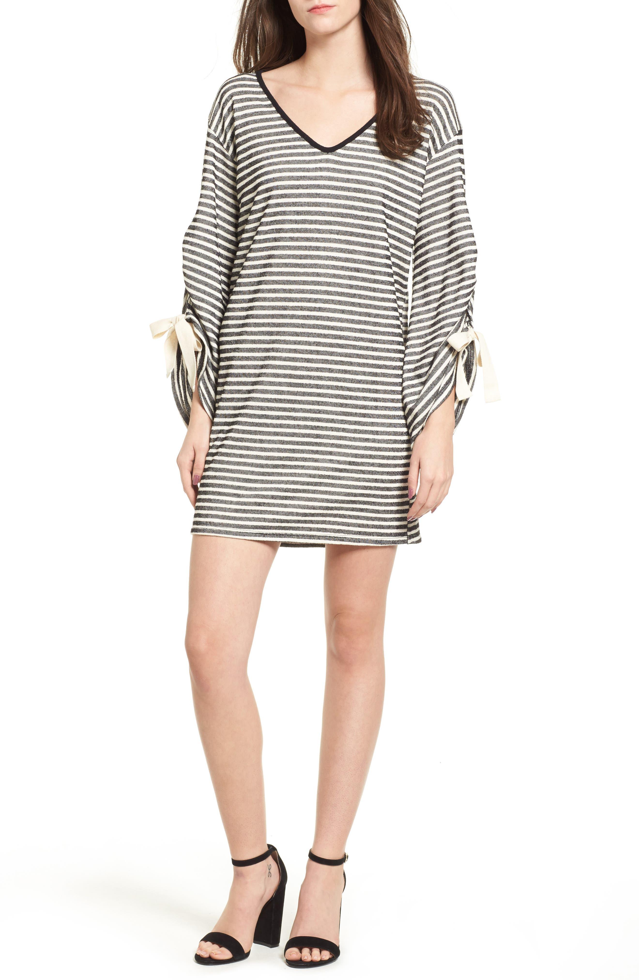 Tie Sleeve Sweatshirt Dress,                         Main,                         color, Black/ Ivory