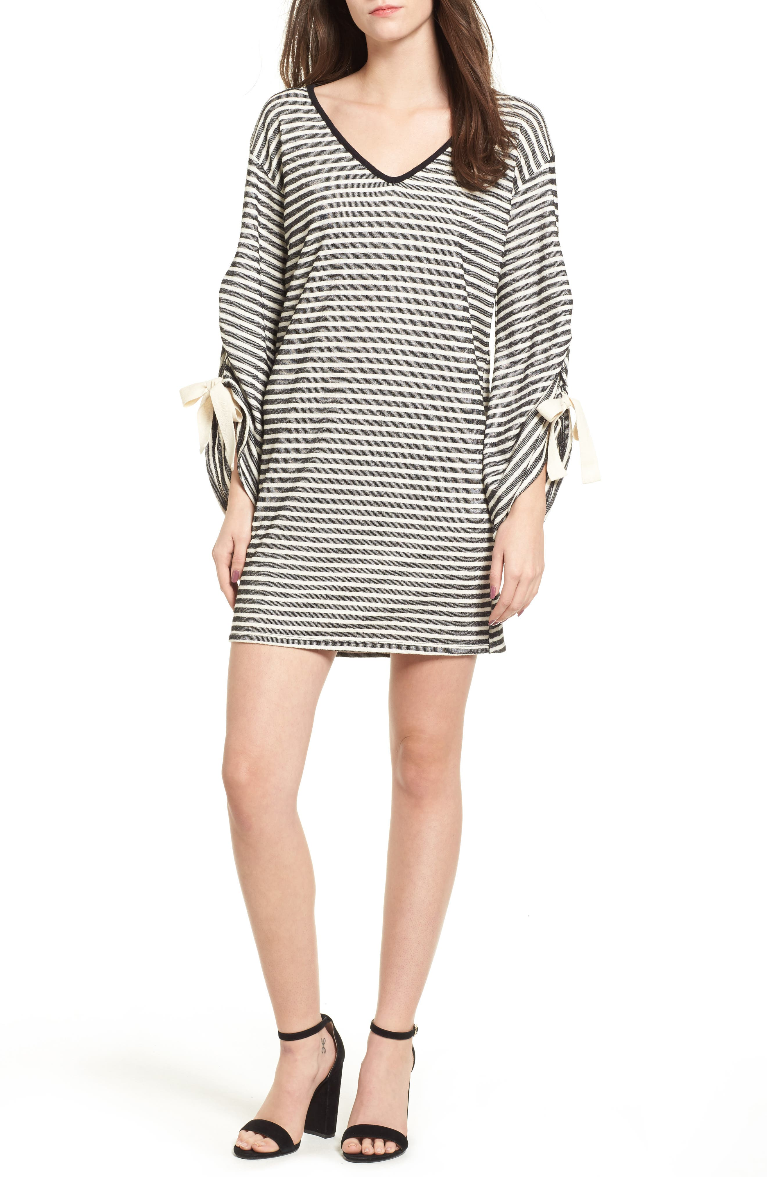 Everly Tie Sleeve Sweatshirt Dress