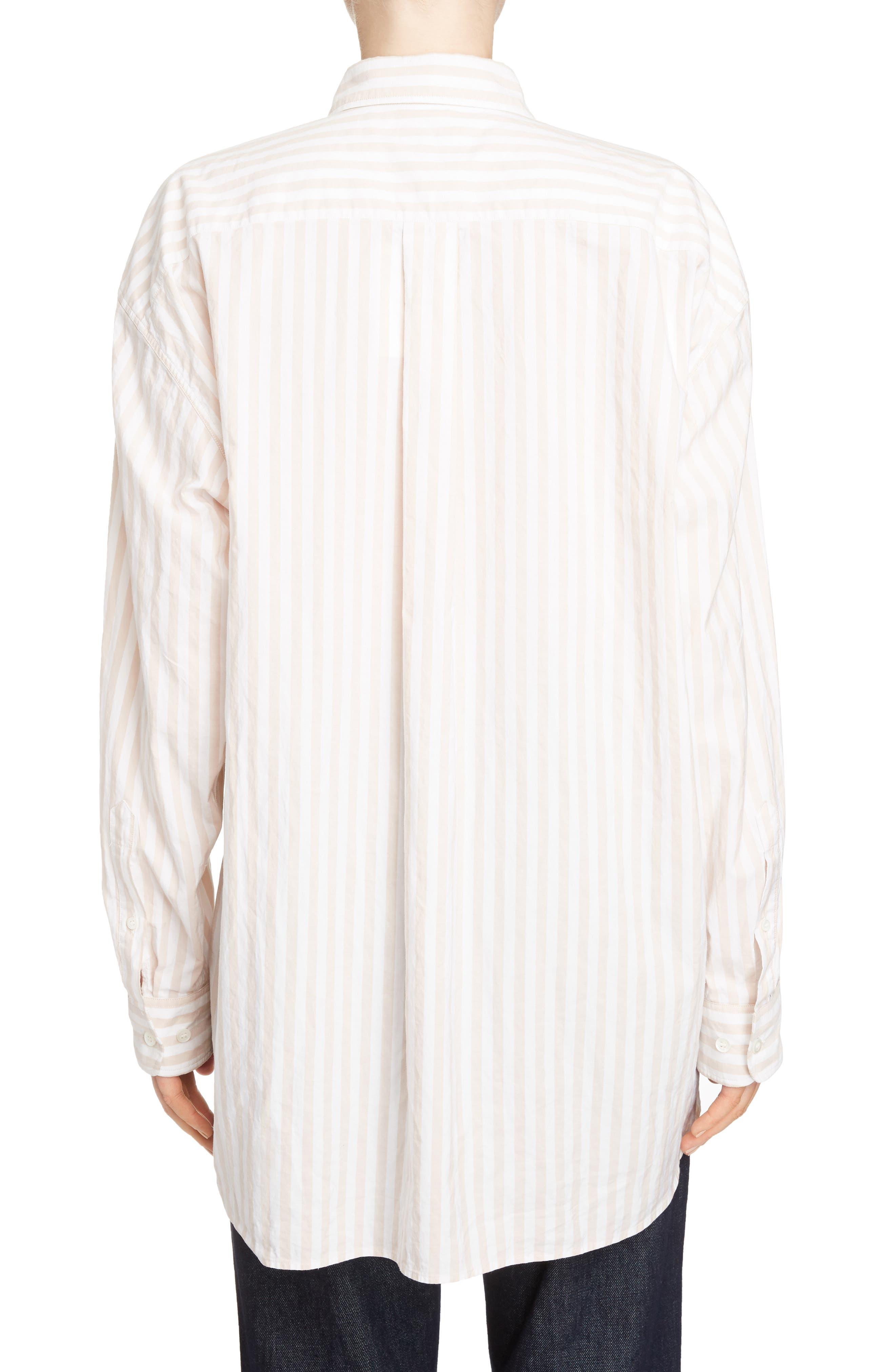Stripe Cotton Oversize Shirt,                             Alternate thumbnail 3, color,                             Old Rose