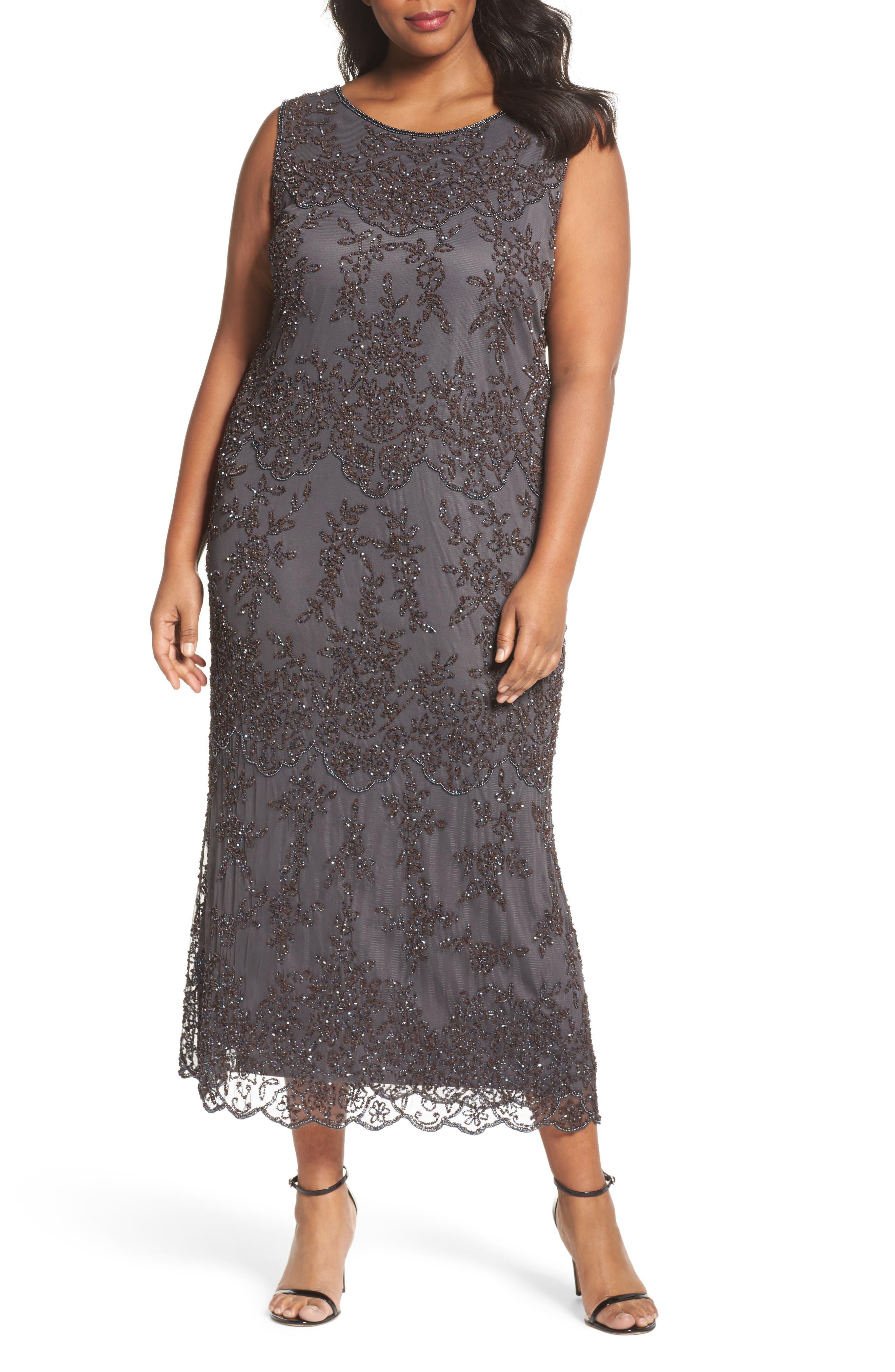 Main Image - Pisarro Nights Embellished Bateau Neck Long Dress (Plus Size)