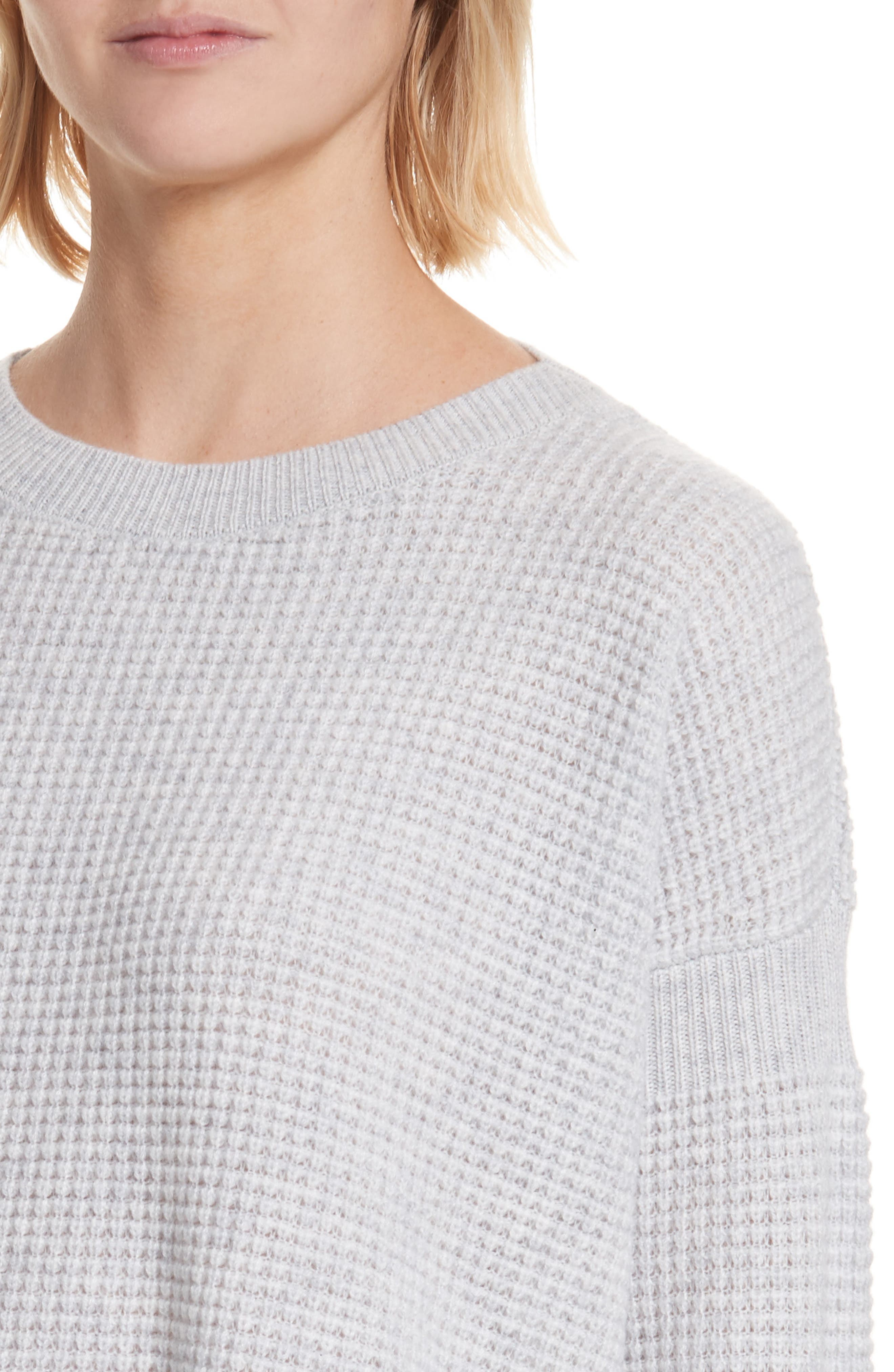 Cinch Sleeve Cashmere Sweater,                             Alternate thumbnail 4, color,                             Whale Grey