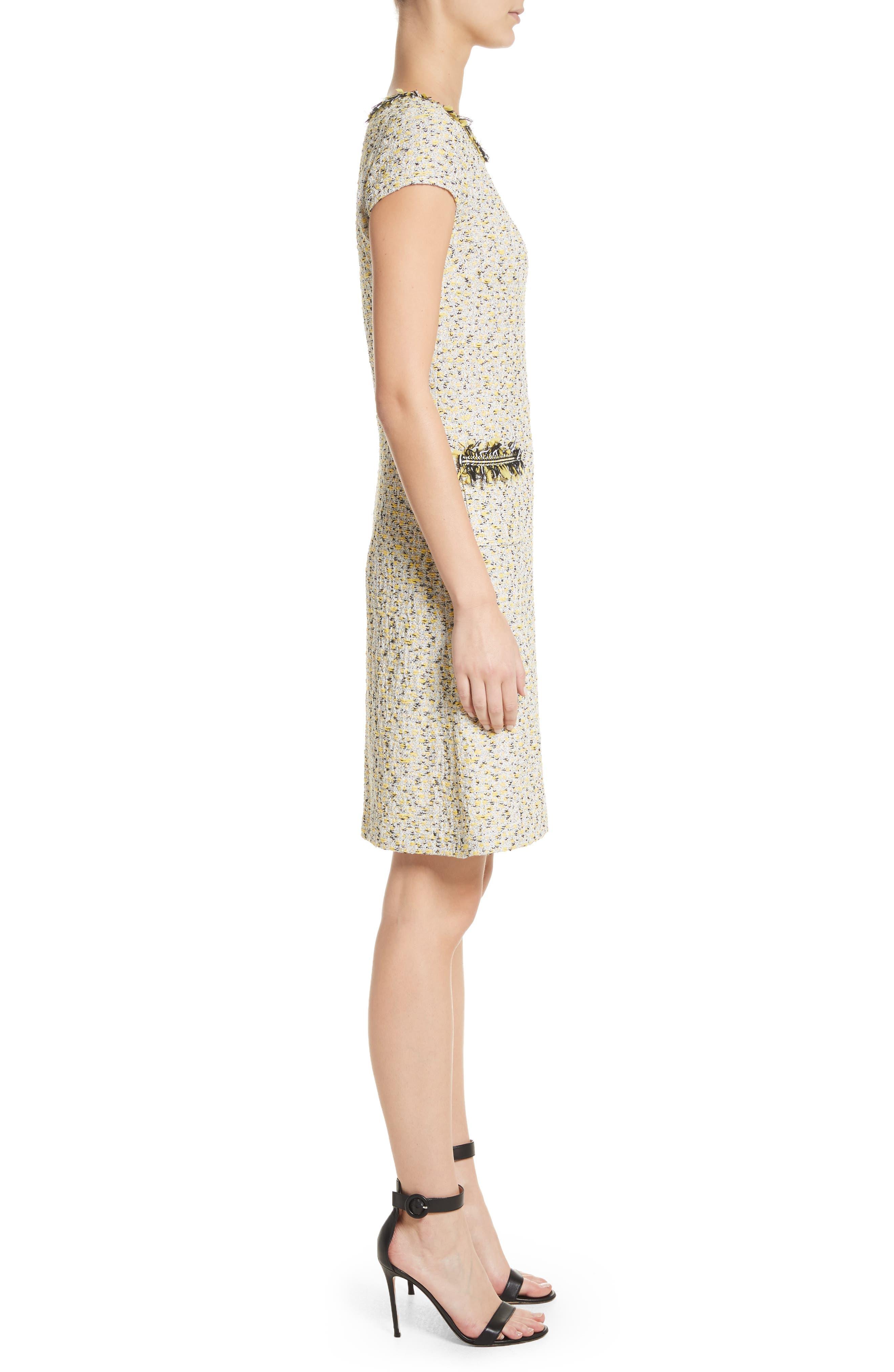 Romee Tweed Dress,                             Alternate thumbnail 3, color,                             Citron Multi