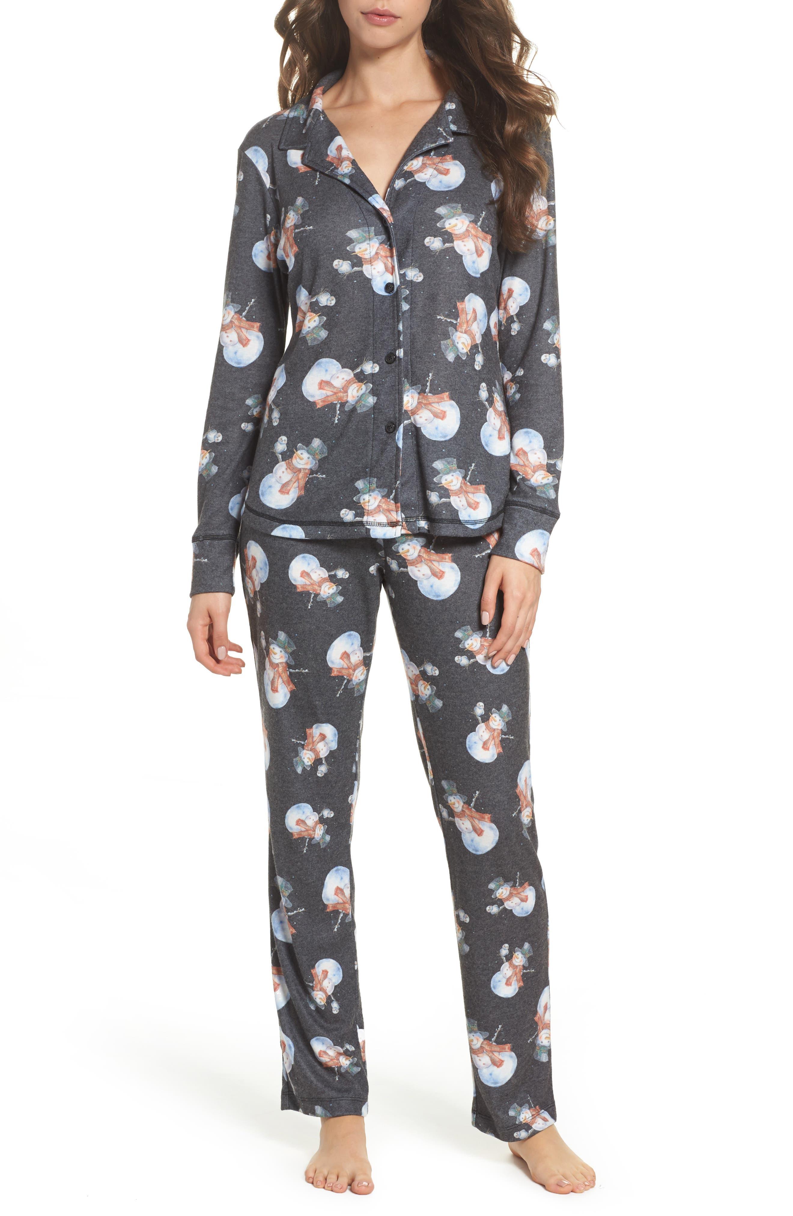 Clara Flannel Pajamas,                         Main,                         color, Black