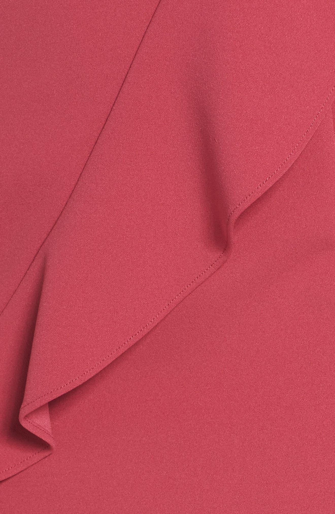 Ruffle Crepe Dress,                             Alternate thumbnail 5, color,                             Faded Azalea