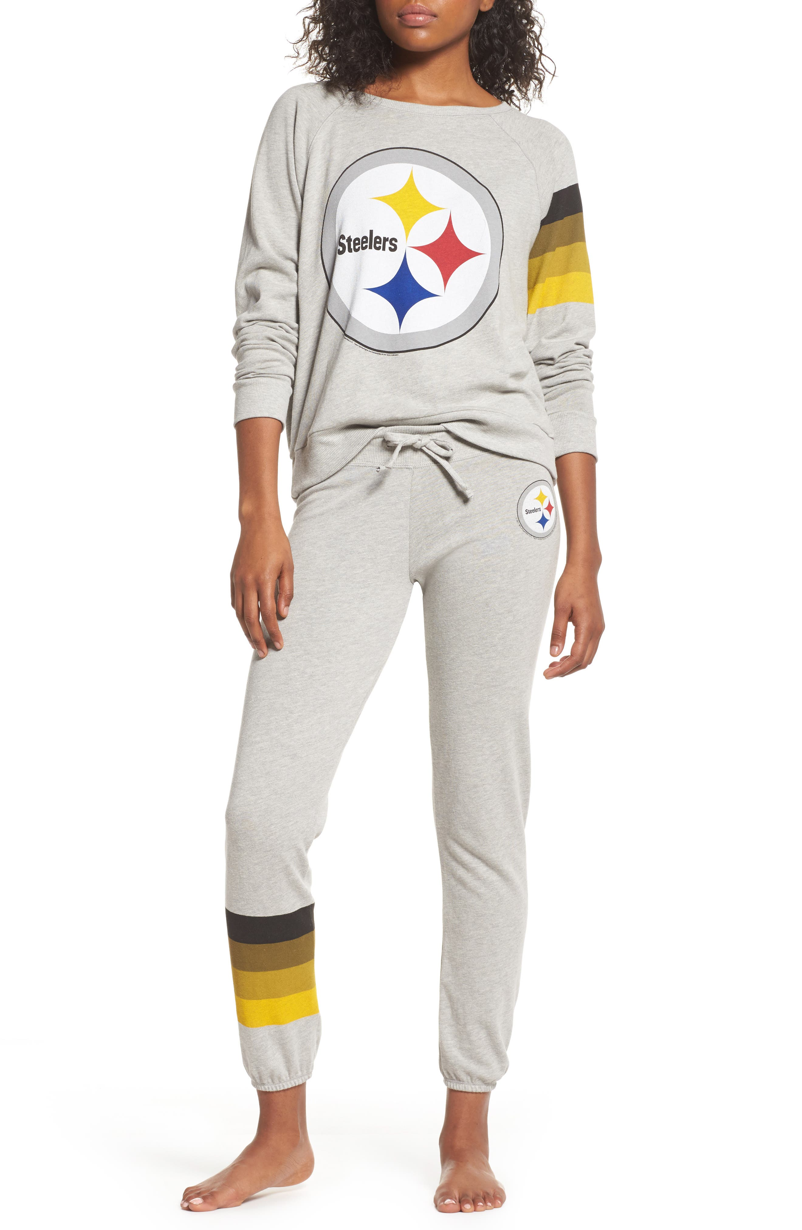 NFL Pittsburgh Steelers Hacci Sweatpants,                             Alternate thumbnail 6, color,                             Dove Heather Grey