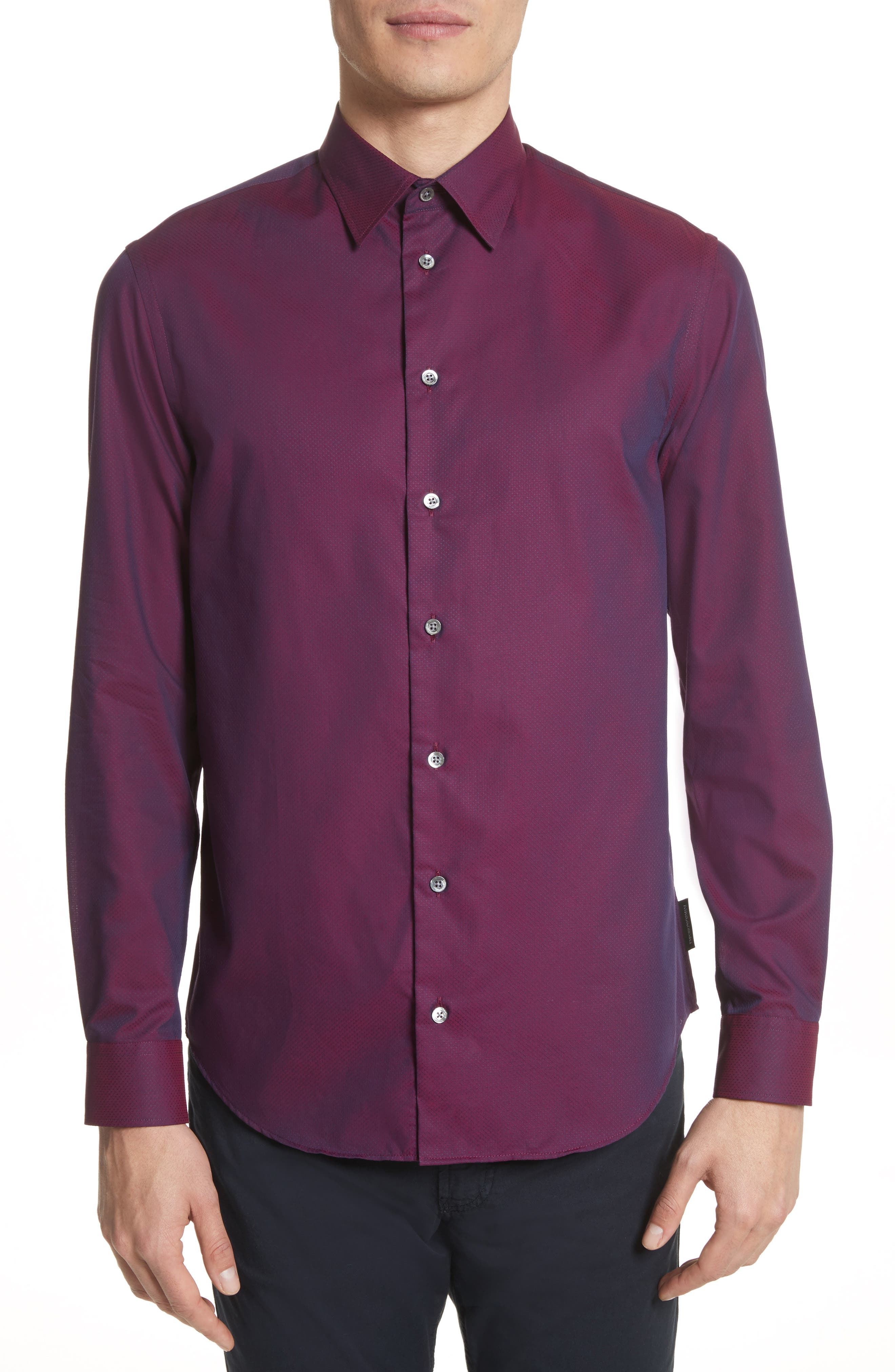 Textured Dot Print Sport Shirt,                         Main,                         color, Fancy Red Tone