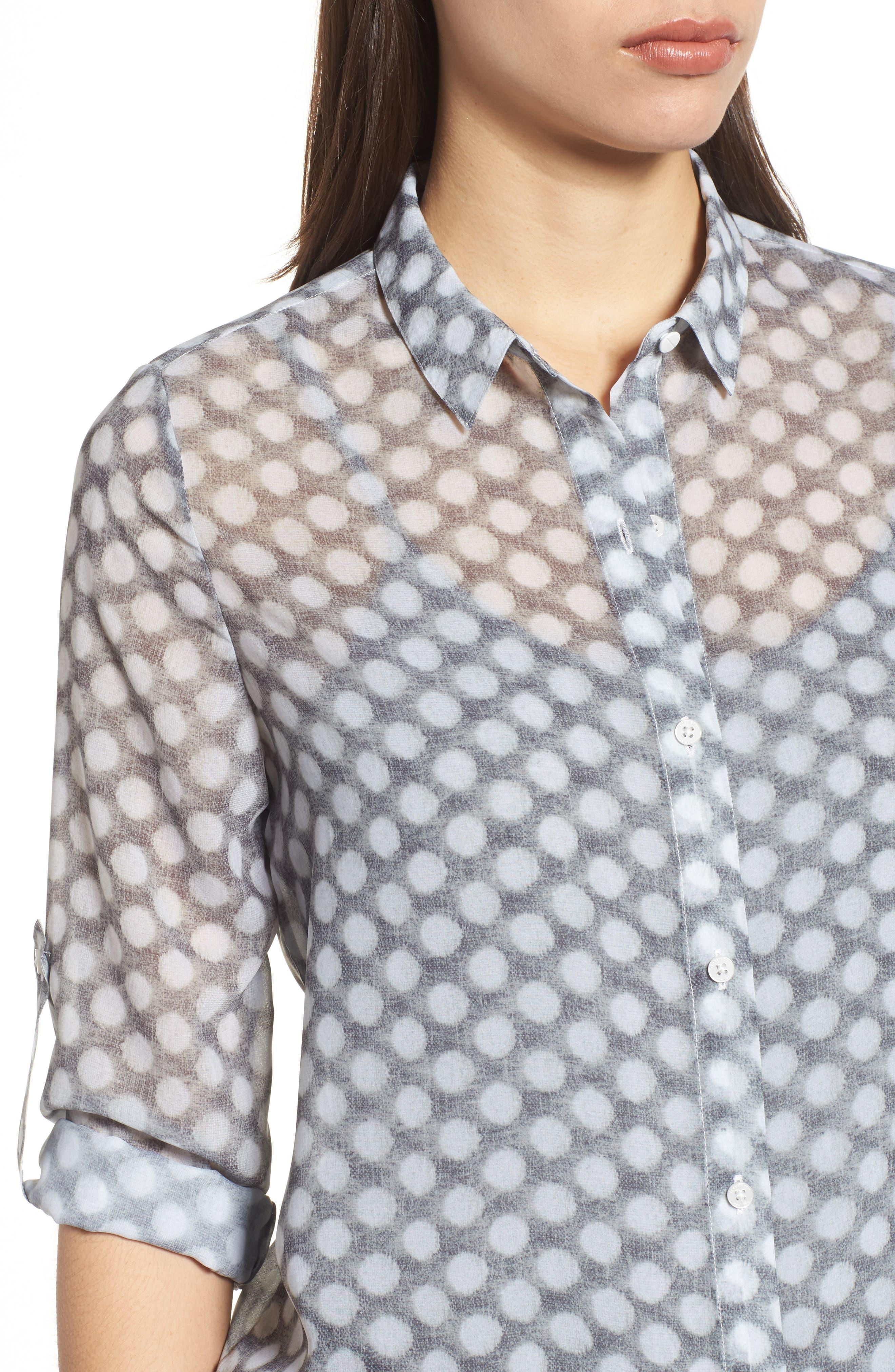 Button Tab Tunic Shirt,                             Alternate thumbnail 4, color,                             Frosty Dot
