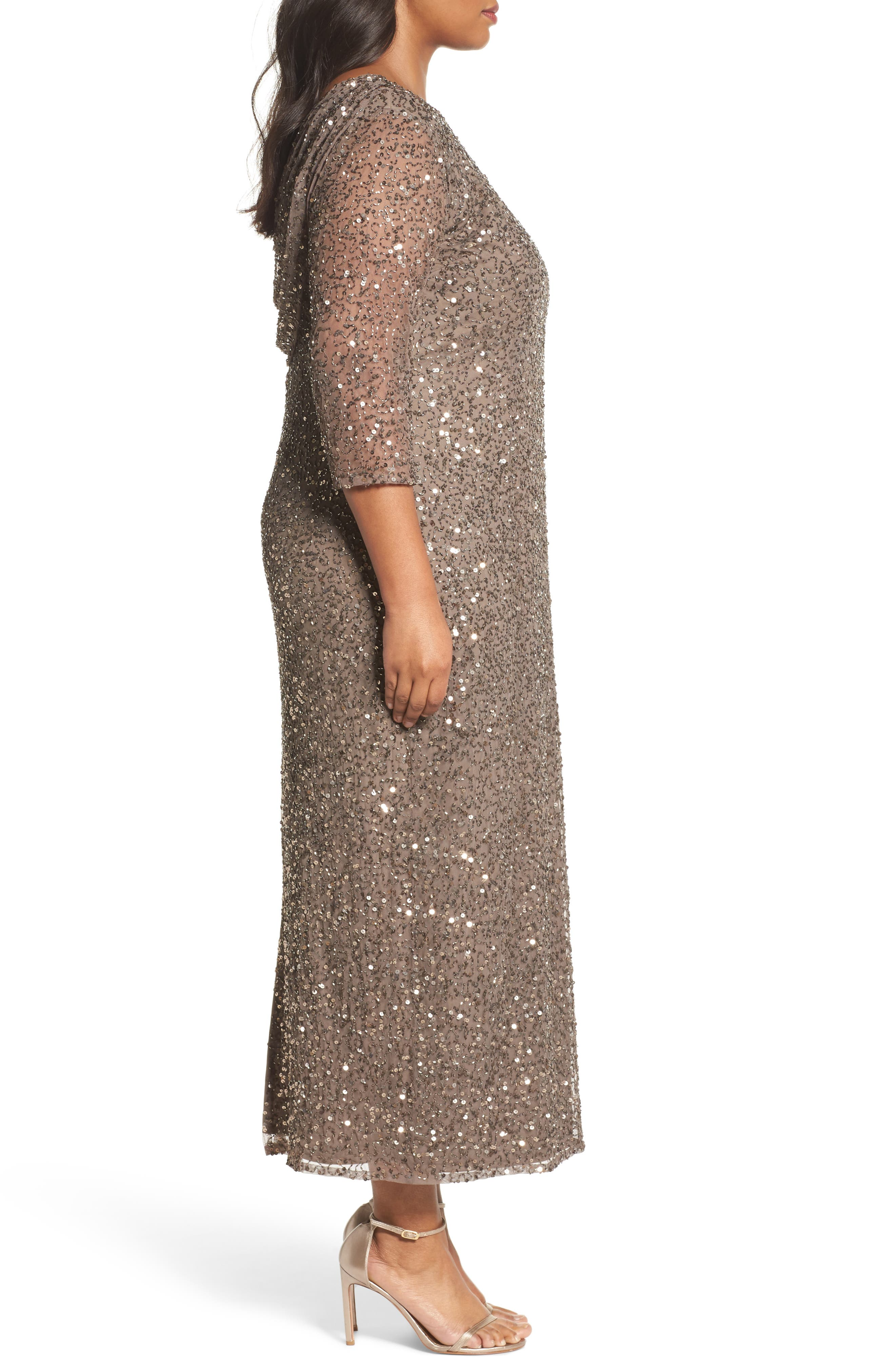 Cowl Back Beaded Gown,                             Alternate thumbnail 3, color,                             Mocha
