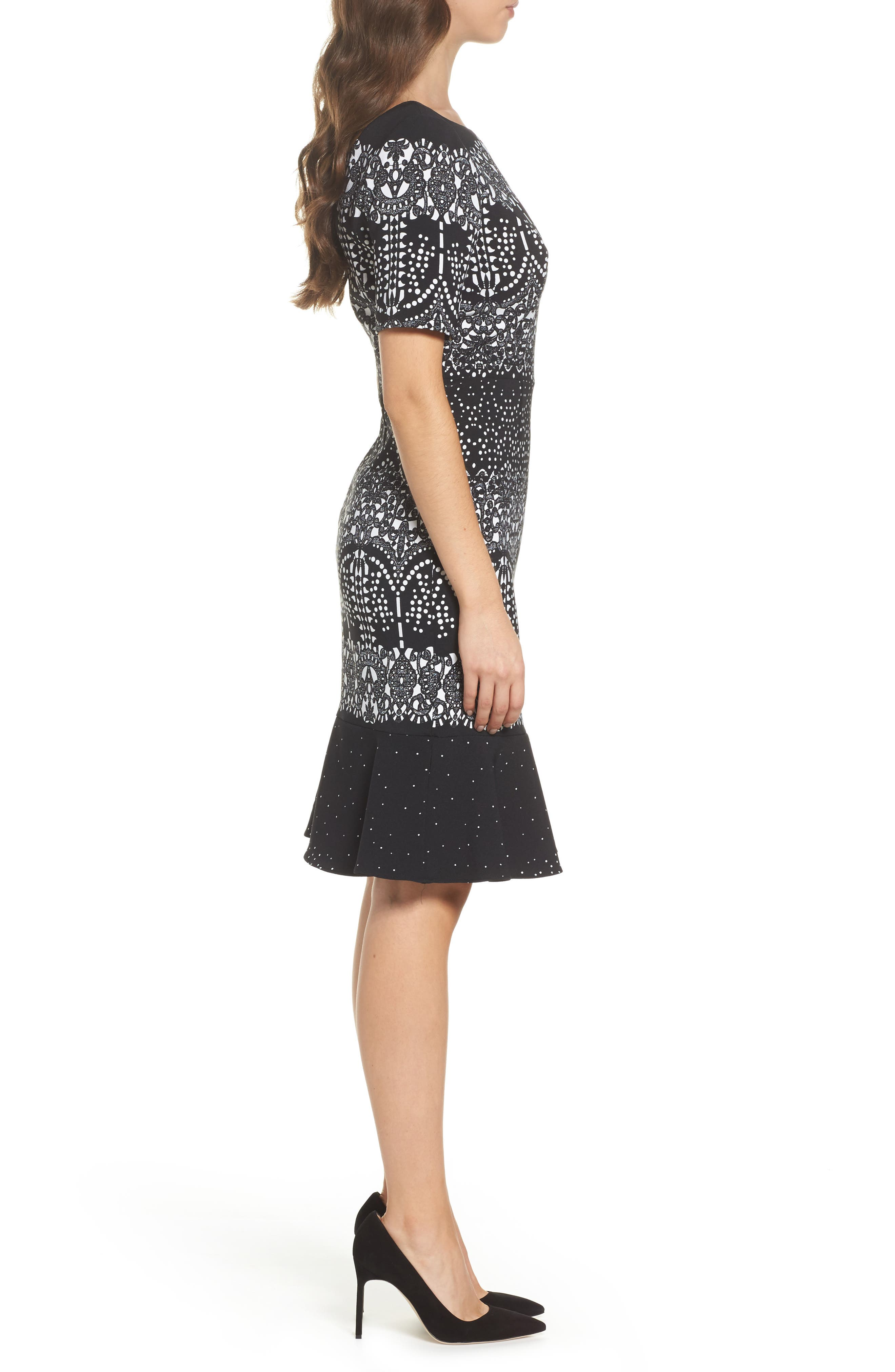 Majesty Lace Fit & Flare Dress,                             Alternate thumbnail 3, color,                             Black Multi
