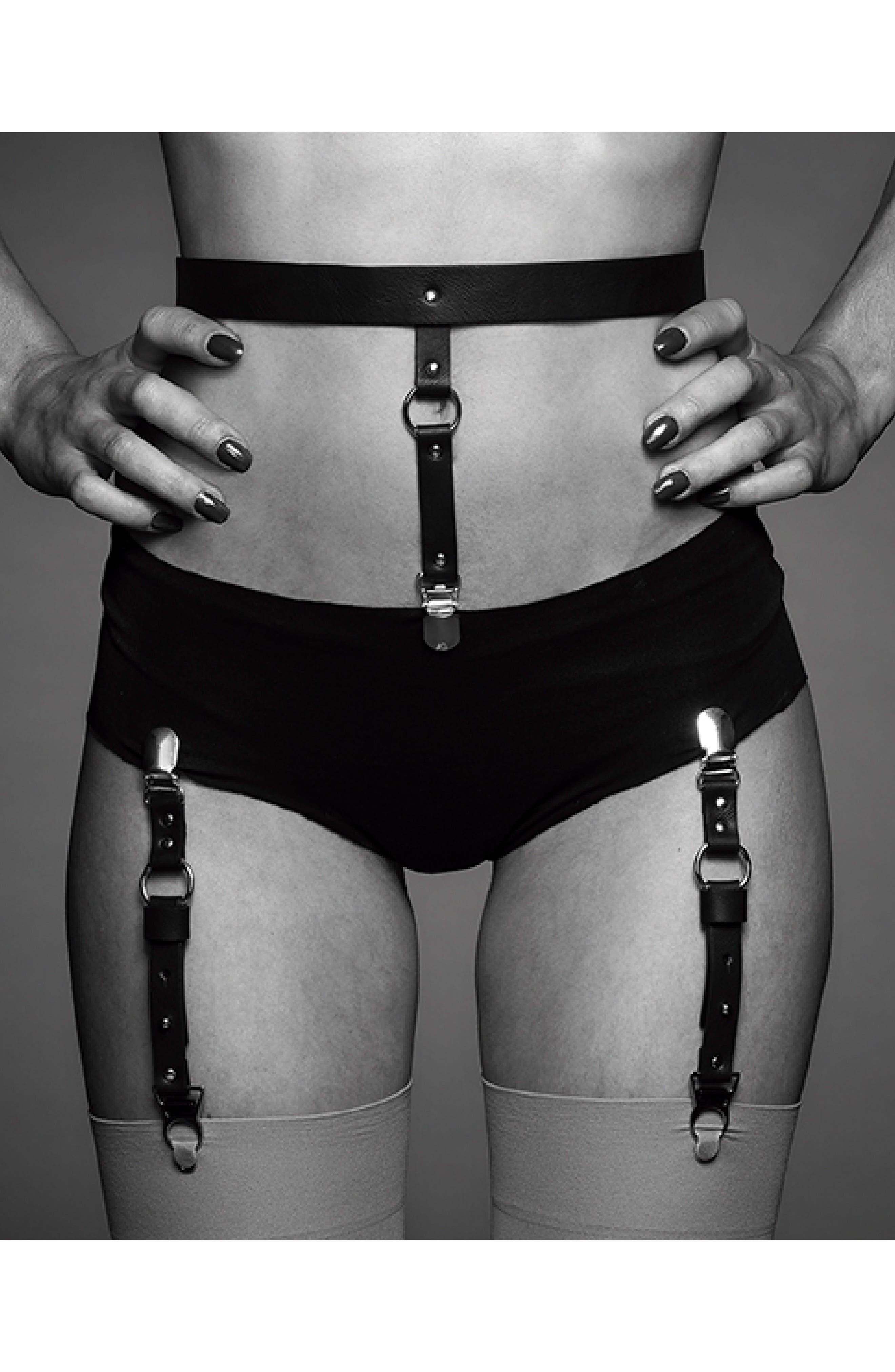 Maze Suspender Belt & Garter Straps,                             Alternate thumbnail 4, color,                             Black