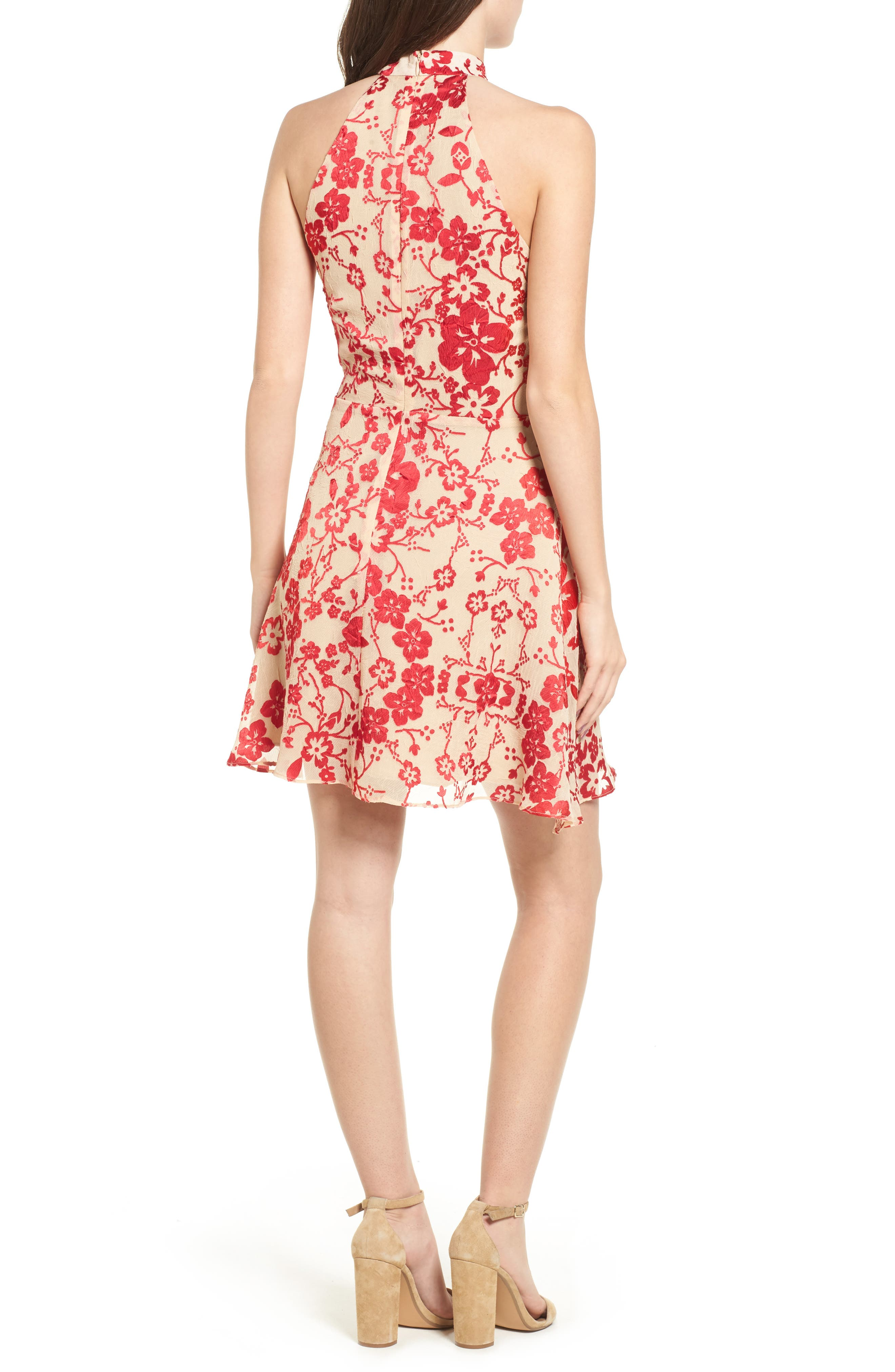 Maryanne Fit & Flare Dress,                             Alternate thumbnail 2, color,                             Ruby Punch
