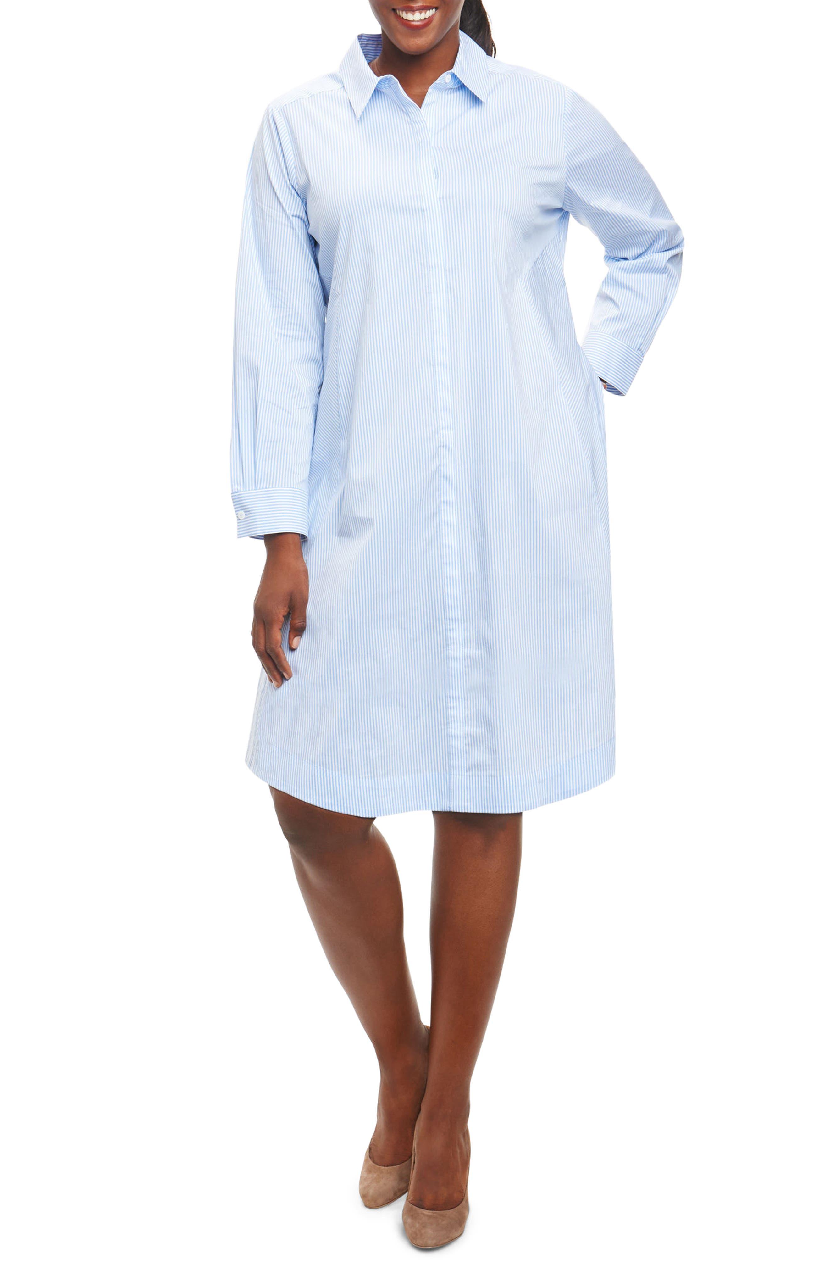 Cici Stripe Stretch Poplin Shirtdress,                             Main thumbnail 1, color,                             Coastal Blue