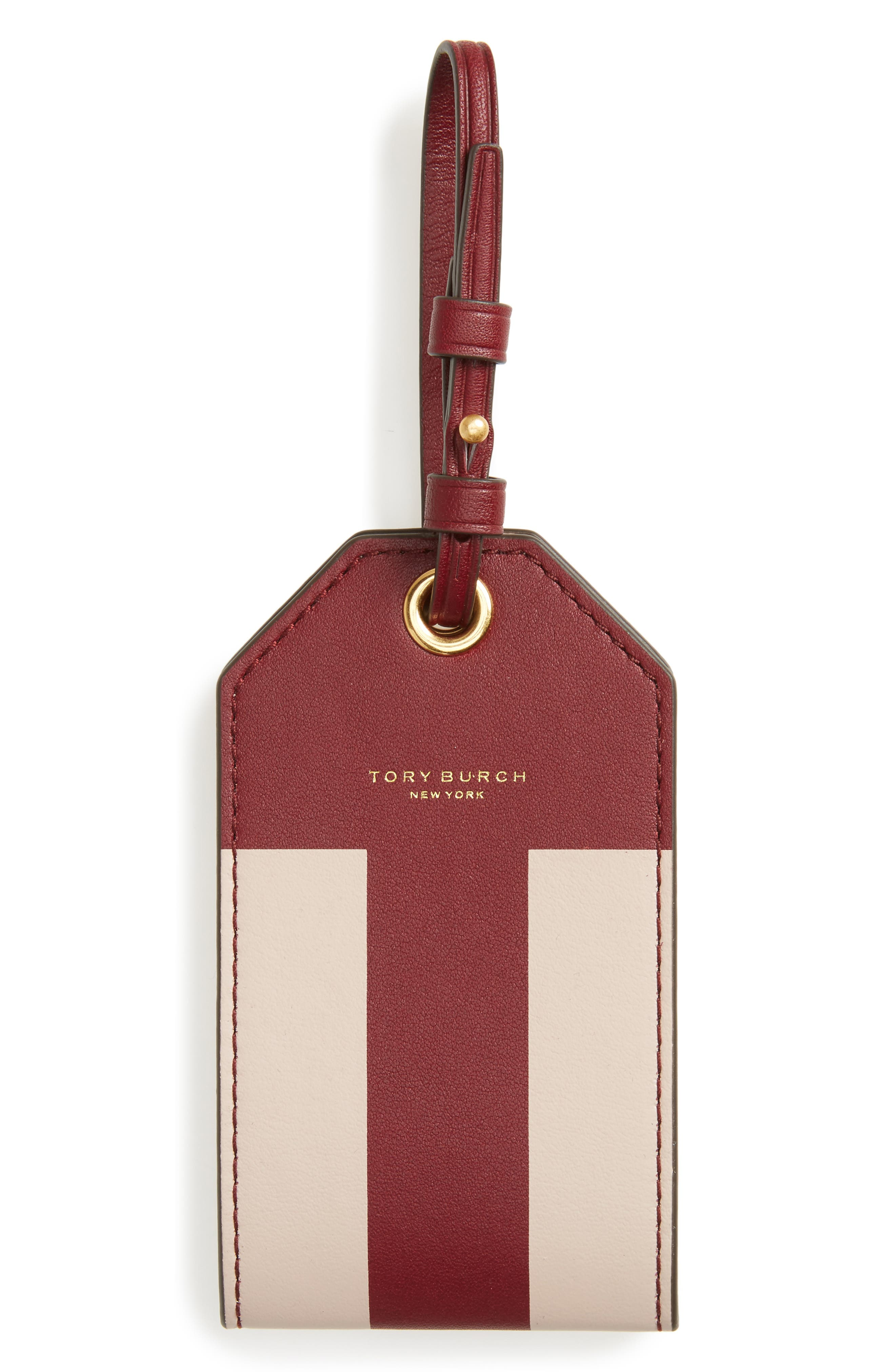 Block-T Logo Leather Luggage Tag,                             Main thumbnail 1, color,                             Imperial Garnet Multi