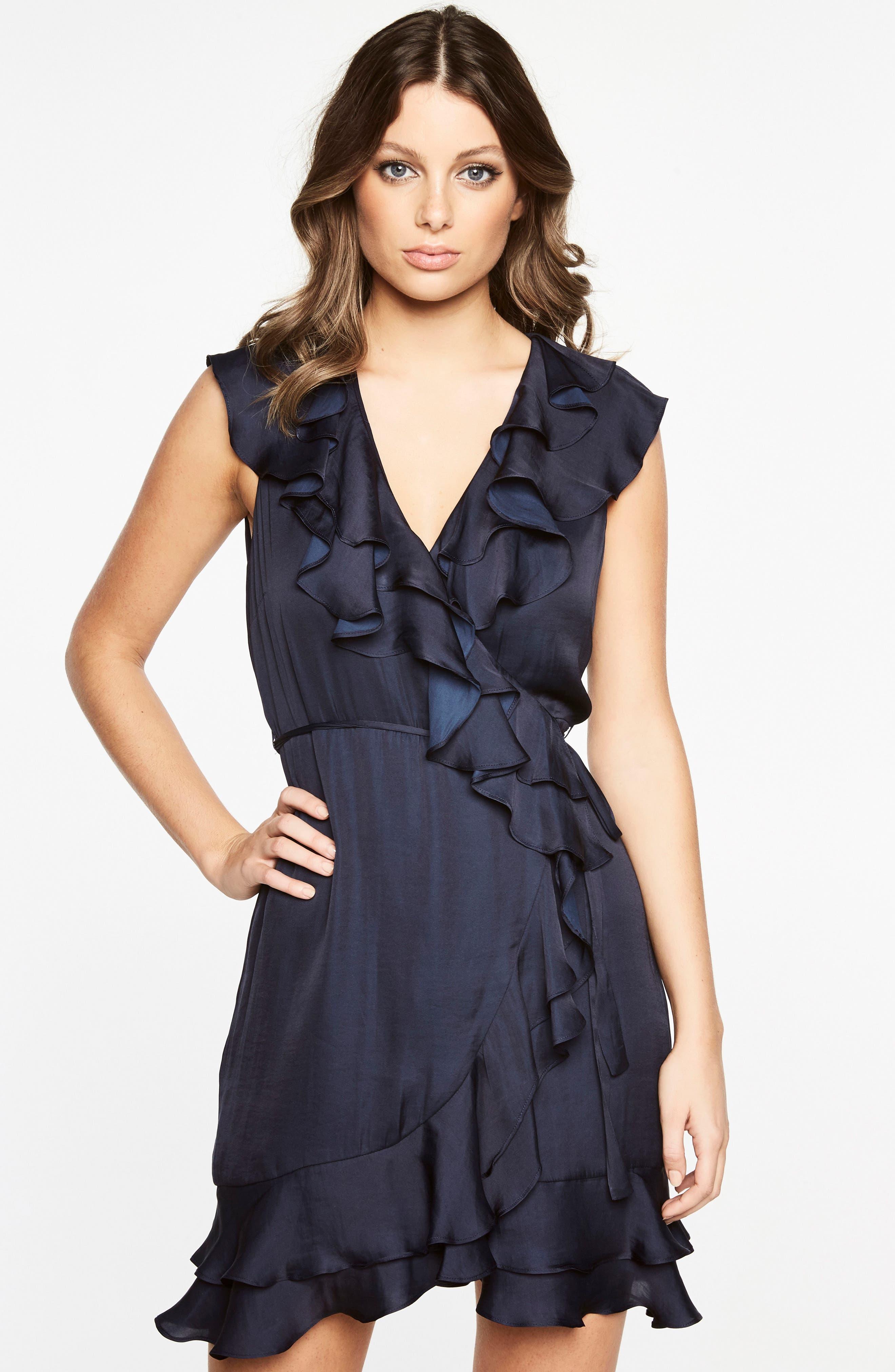 Ruffle Faux Wrap Dress,                             Alternate thumbnail 4, color,                             Navy